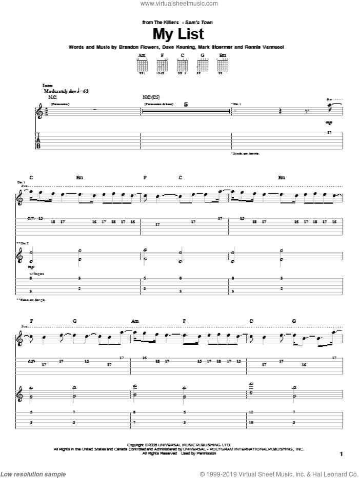 My List sheet music for guitar (tablature) by The Killers and Brandon Flowers, intermediate guitar (tablature). Score Image Preview.