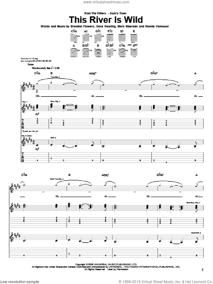 This River Is Wild sheet music for guitar (tablature) by Ronnie Vannucci, The Killers, Brandon Flowers, Dave Keuning and Mark Stoermer. Score Image Preview.