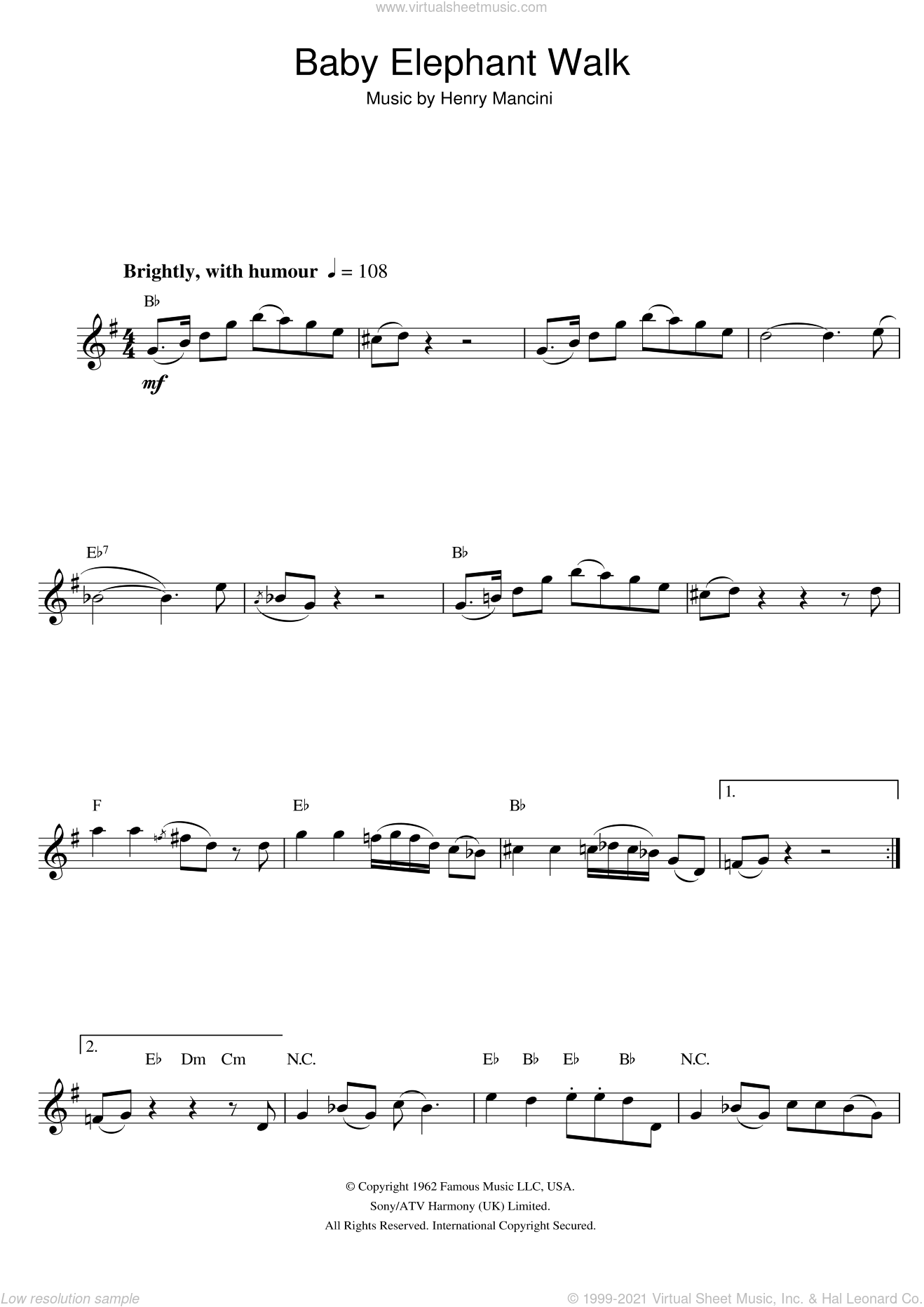 Baby Elephant Walk (from Hatari!) sheet music for alto saxophone solo by Henry Mancini, intermediate skill level