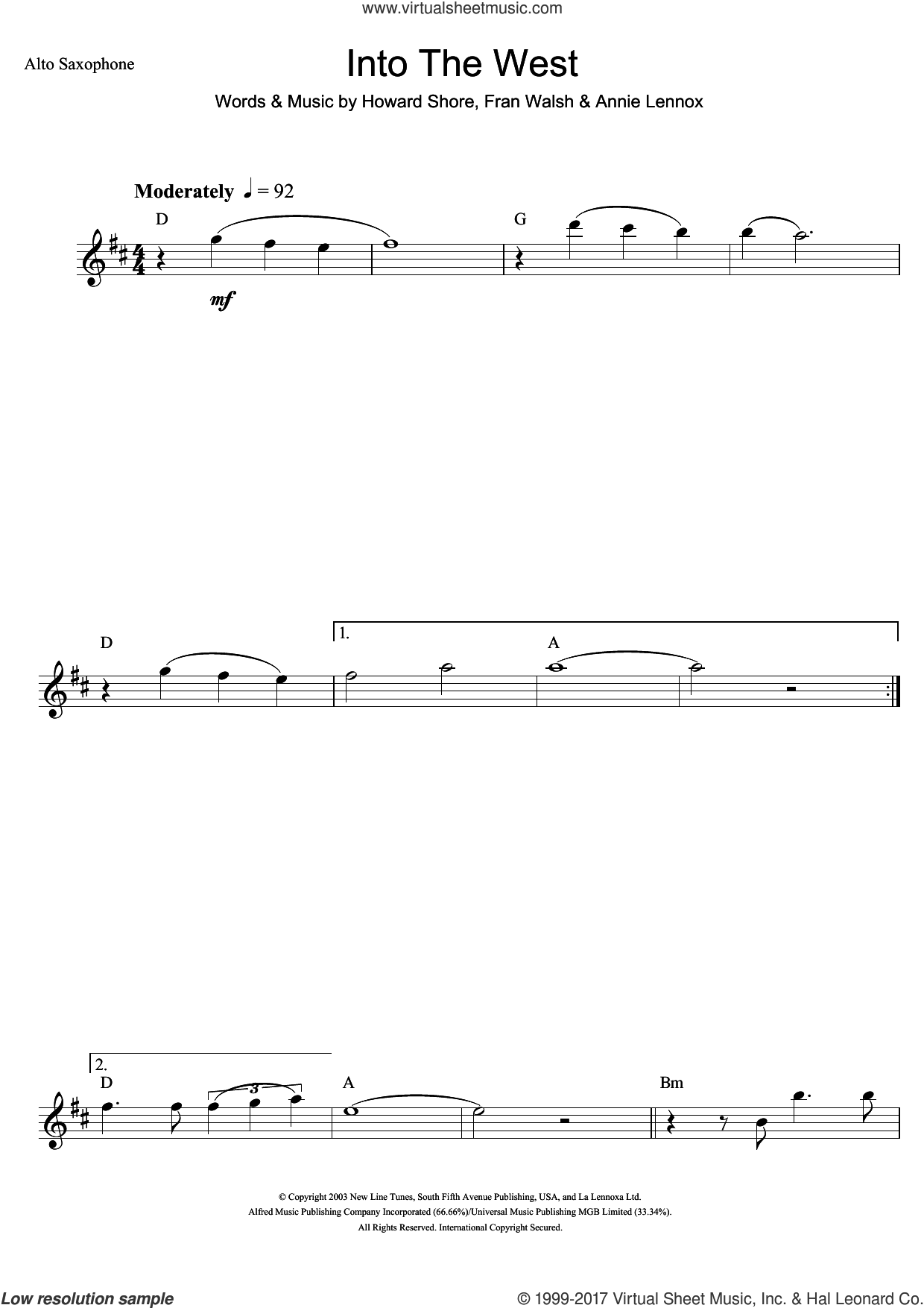 Into The West (from The Lord Of The Rings: The Return Of The King) sheet music for alto saxophone solo by Annie Lennox, Fran Walsh and Howard Shore, intermediate skill level