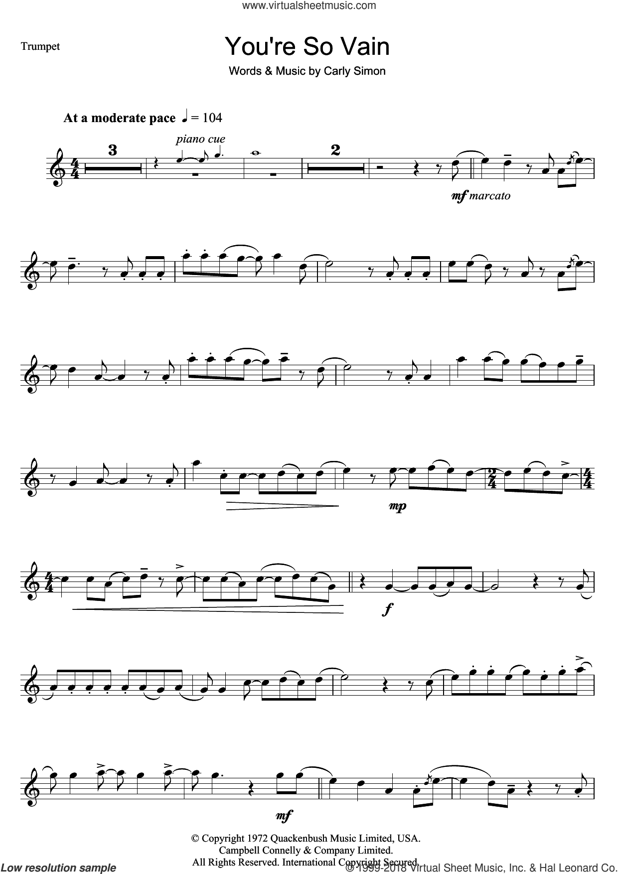 You're So Vain sheet music for trumpet solo by Carly Simon, intermediate skill level