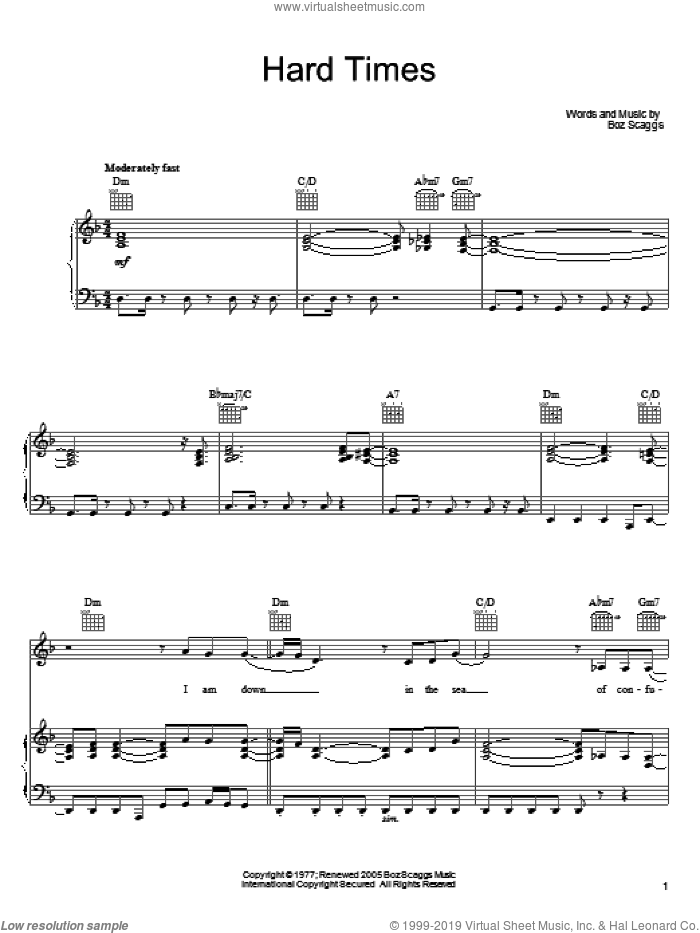 Hard Times sheet music for voice, piano or guitar by Boz Scaggs. Score Image Preview.
