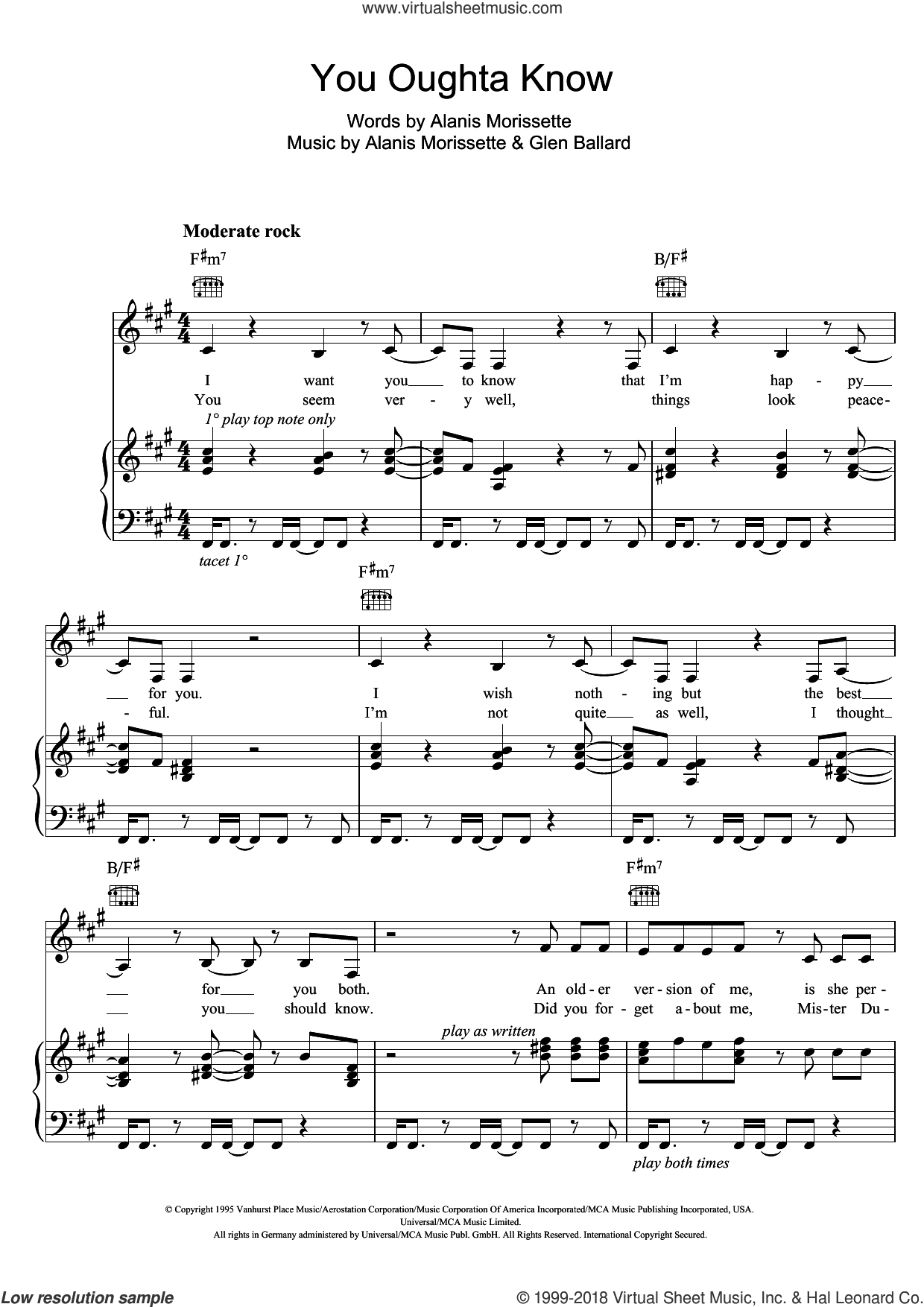 You Oughta Know sheet music for voice, piano or guitar by Alanis Morrisette, Alanis Morissette and Glen Ballard, intermediate skill level