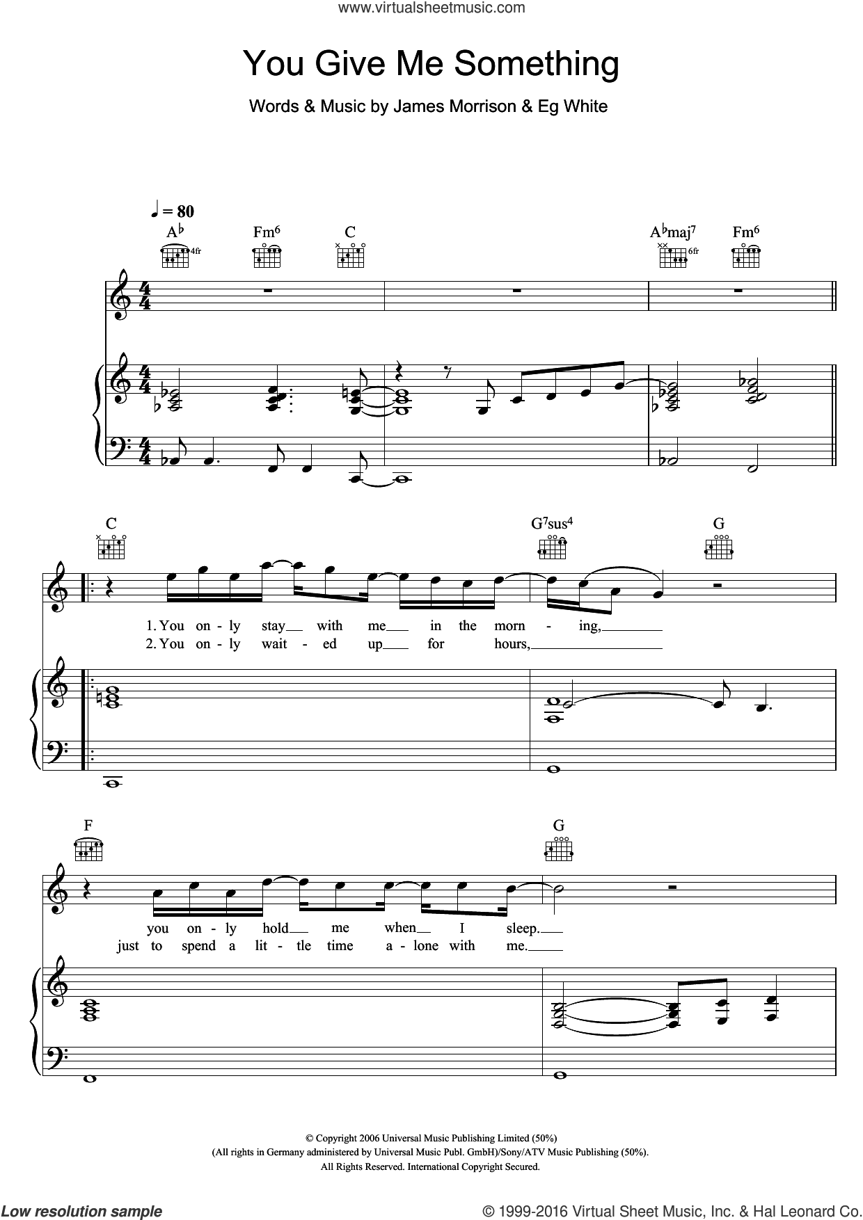 You Give Me Something sheet music for voice, piano or guitar by James Morrison and Eg White, intermediate skill level
