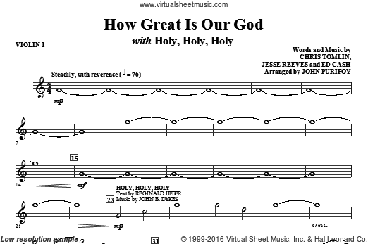 How Great Is Our God with Holy, Holy, Holy (COMPLETE) sheet music for orchestra by Jesse Reeves, John Purifoy, Chris Tomlin and Ed Cash. Score Image Preview.