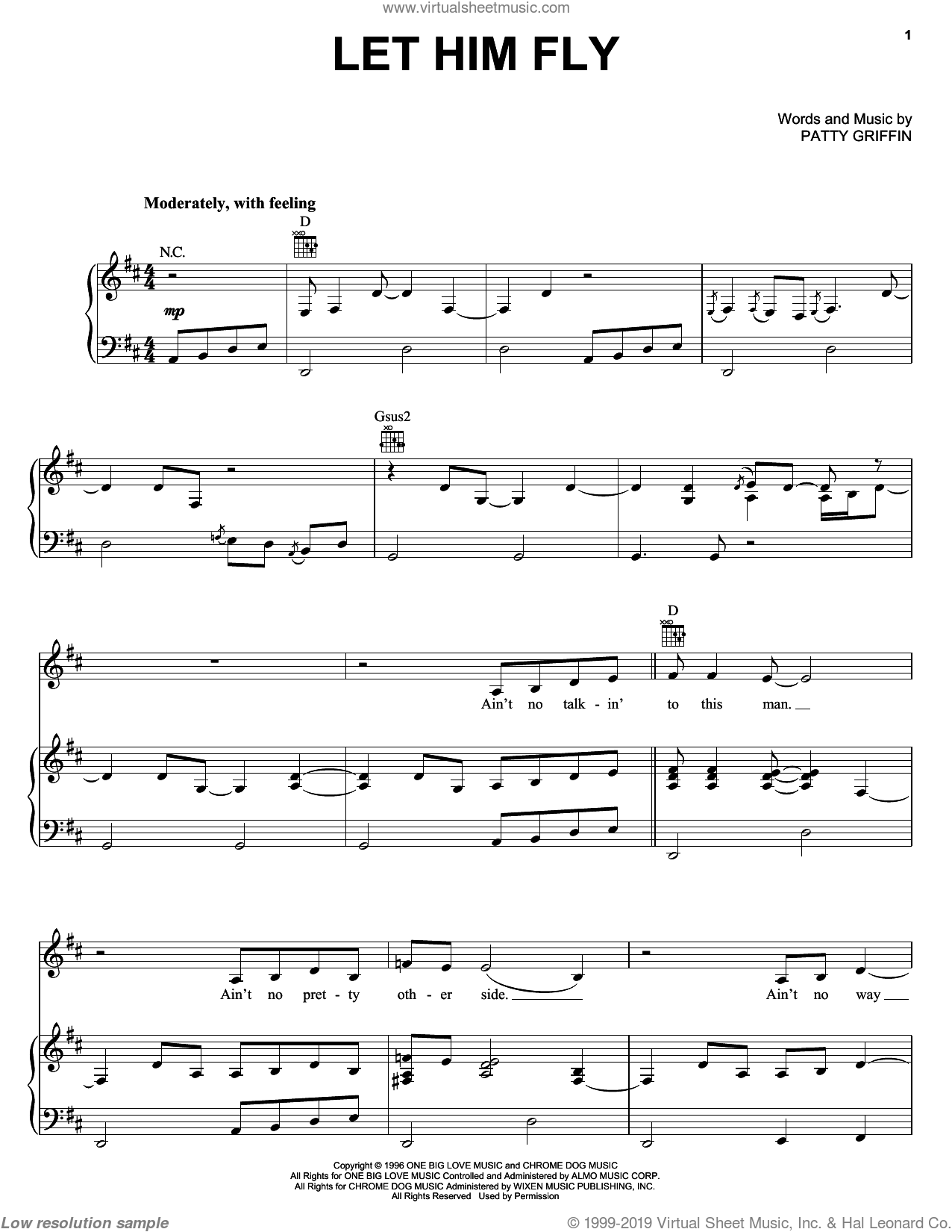 Let Him Fly sheet music for voice, piano or guitar by Jessica Simpson, Dixie Chicks and Patty Griffin, intermediate skill level