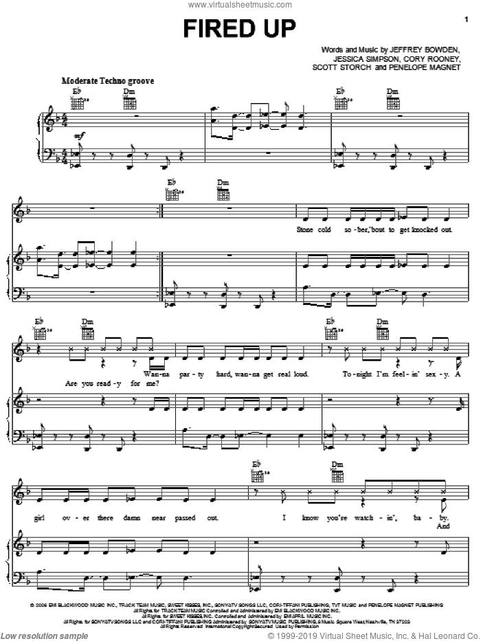 Fired Up sheet music for voice, piano or guitar by Scott Storch, Cory Rooney and Jessica Simpson. Score Image Preview.