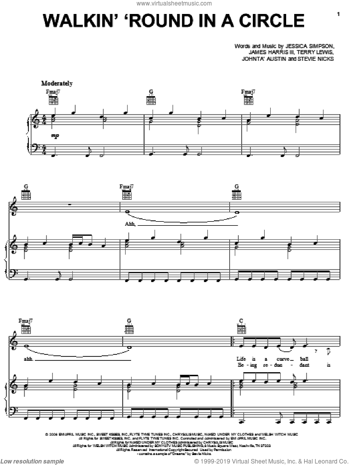Walkin' 'Round In A Circle sheet music for voice, piano or guitar by Jessica Simpson, James Harris, Stevie Nicks and Terry Lewis, intermediate voice, piano or guitar. Score Image Preview.