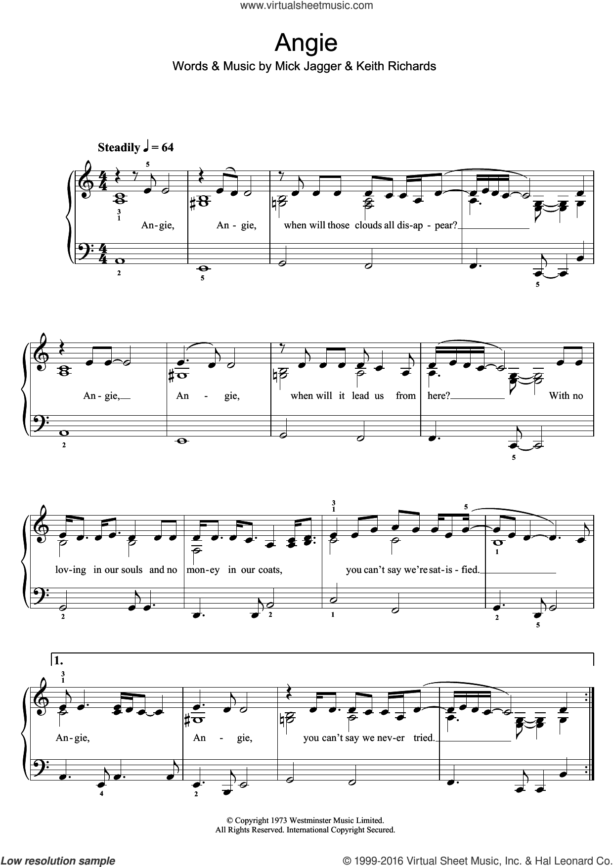 Angie sheet music for piano solo (beginners) by The Rolling Stones, Keith Richards and Mick Jagger, beginner piano (beginners)