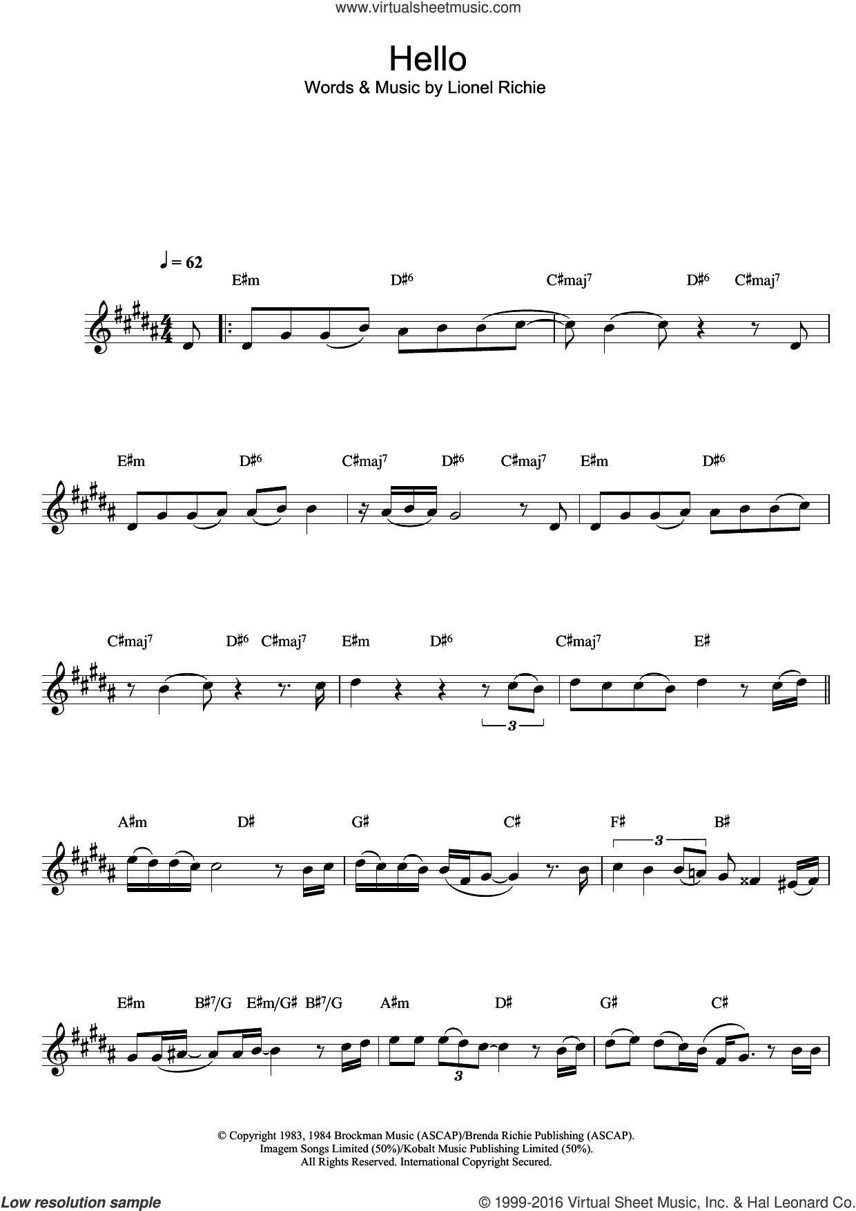 Hello sheet music for alto saxophone solo by Lionel Richie, intermediate skill level