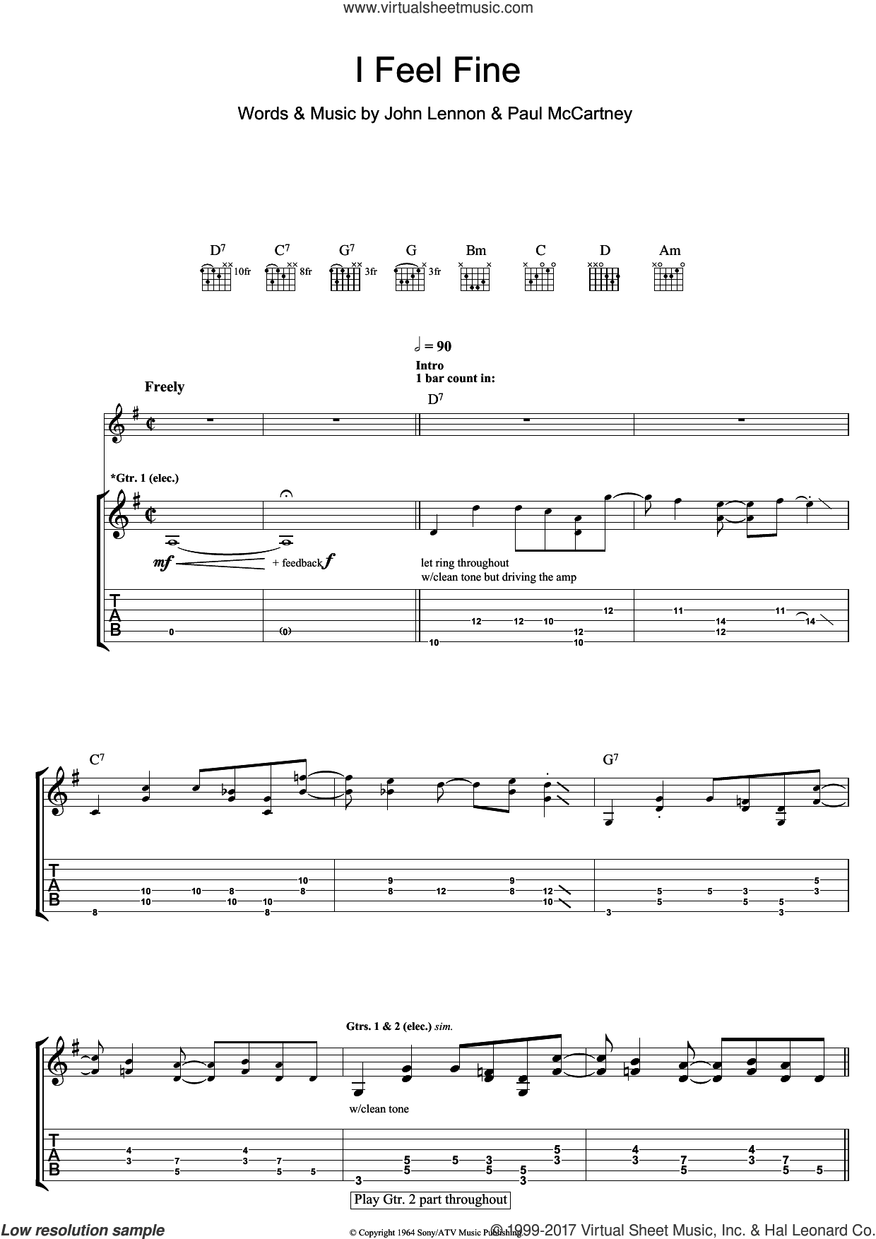 Beatles I Feel Fine Sheet Music For Guitar Tablature Pdf