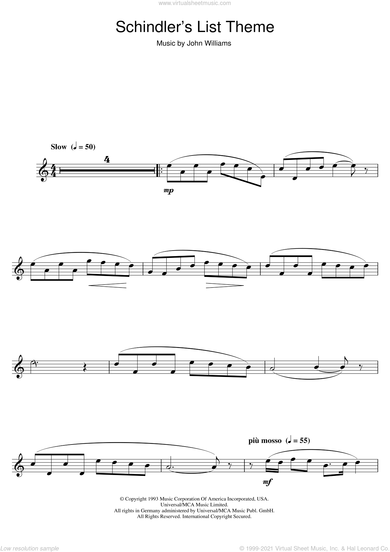 Theme From Schindler's List sheet music for alto saxophone solo by John Williams, intermediate skill level