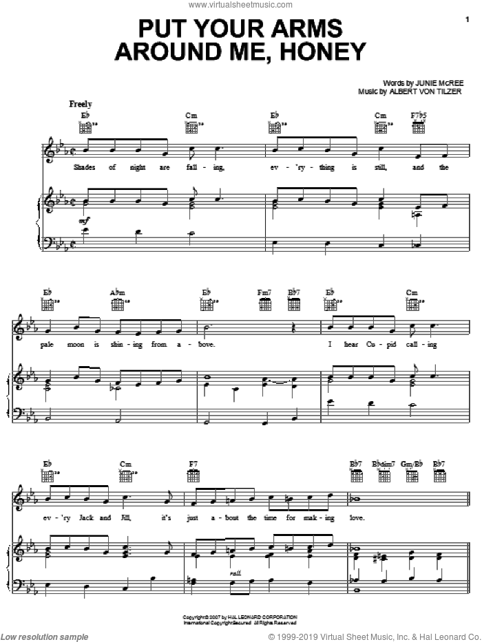 Put Your Arms Around Me, Honey sheet music for voice, piano or guitar by Glenn Miller, Albert von Tilzer and Junie McCree, intermediate skill level