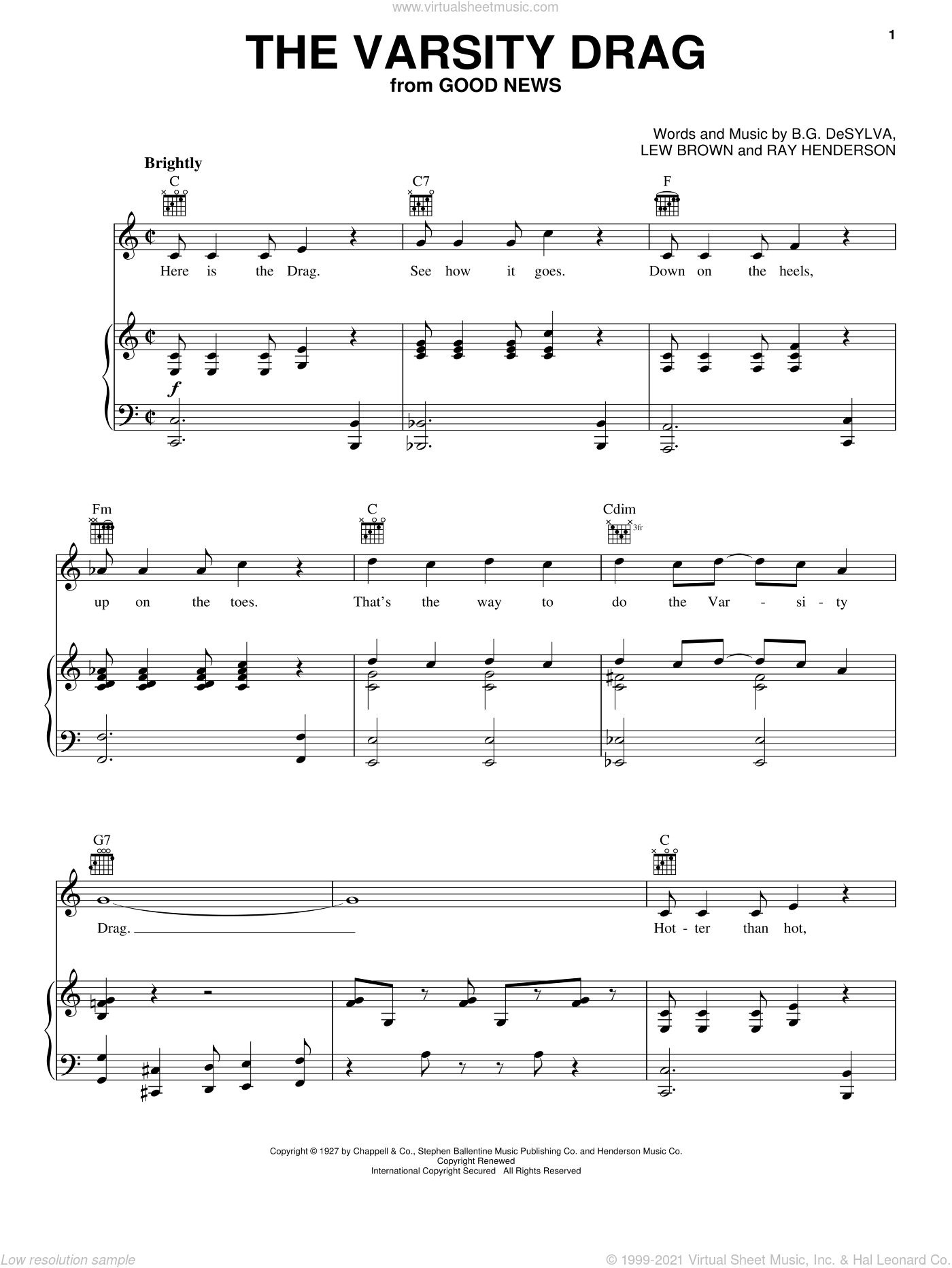 The Varsity Drag sheet music for voice, piano or guitar by Ray Henderson, Buddy DeSylva and Lew Brown, intermediate skill level
