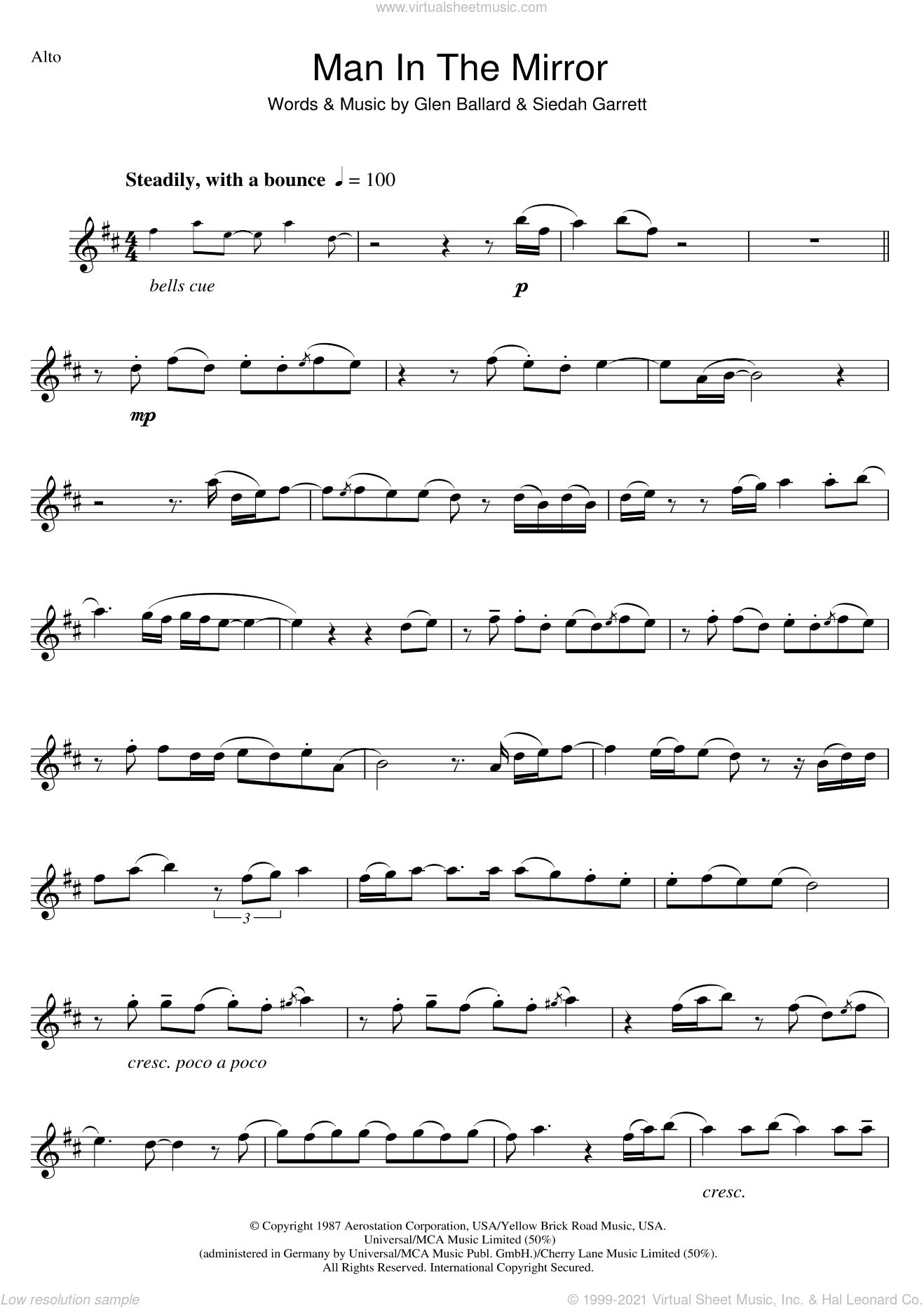 Man In The Mirror sheet music for alto saxophone solo by Michael Jackson, Glen Ballard and Siedah Garrett, intermediate skill level