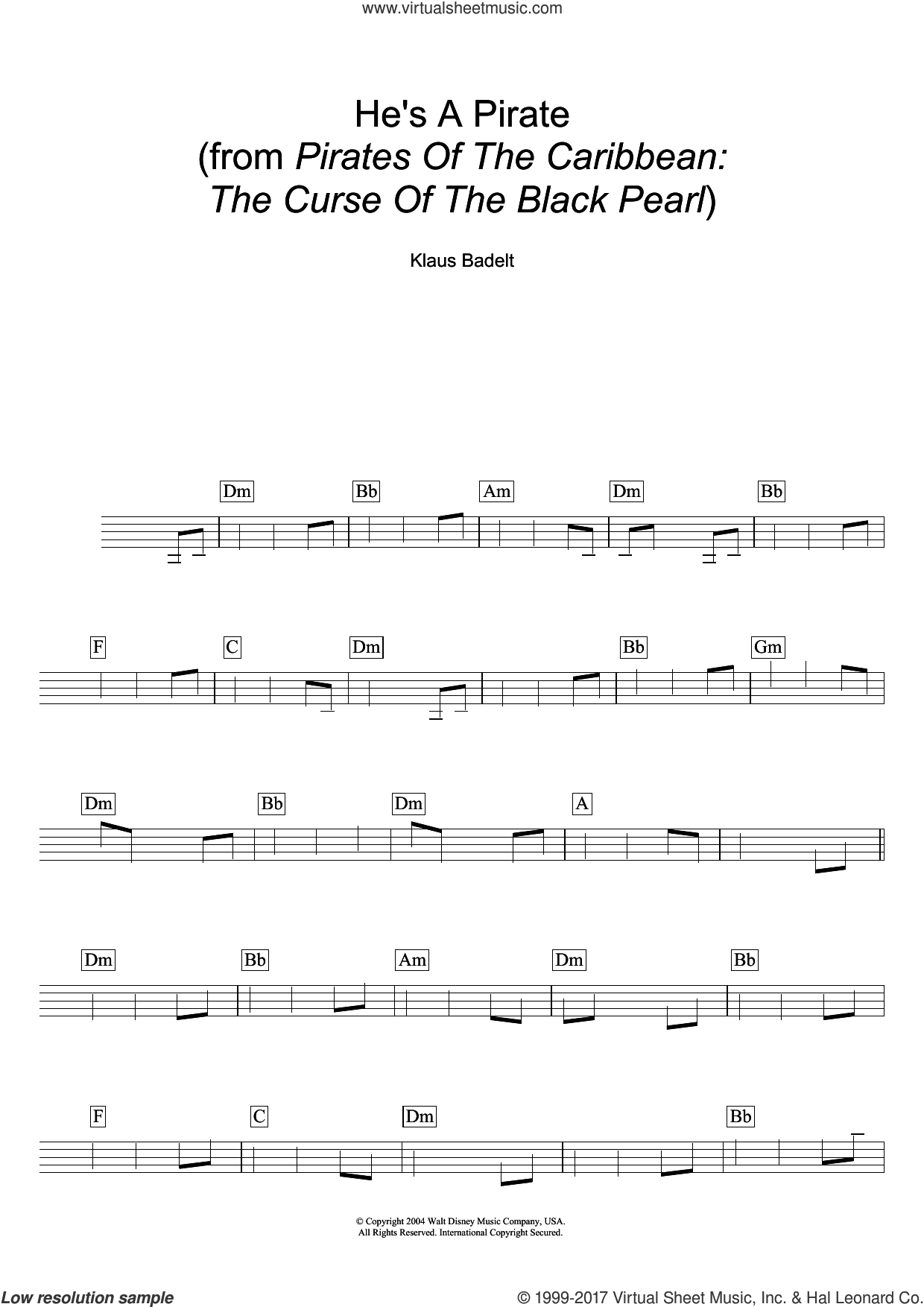 He's A Pirate (from Pirates Of The Caribbean: The Curse Of The Black Pearl) sheet music for voice and other instruments (fake book) by Klaus Badelt, intermediate skill level