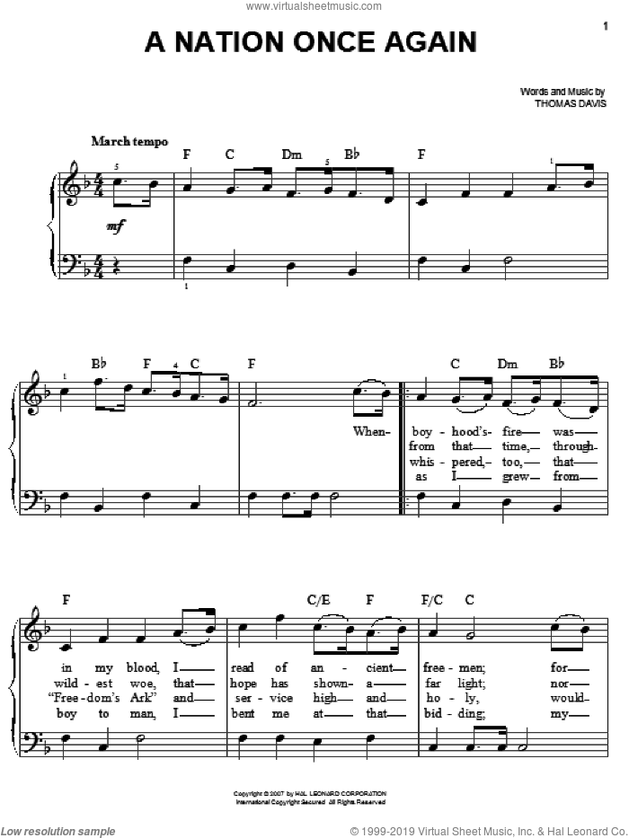 A Nation Once Again sheet music for piano solo by Thomas Davis, easy piano. Score Image Preview.