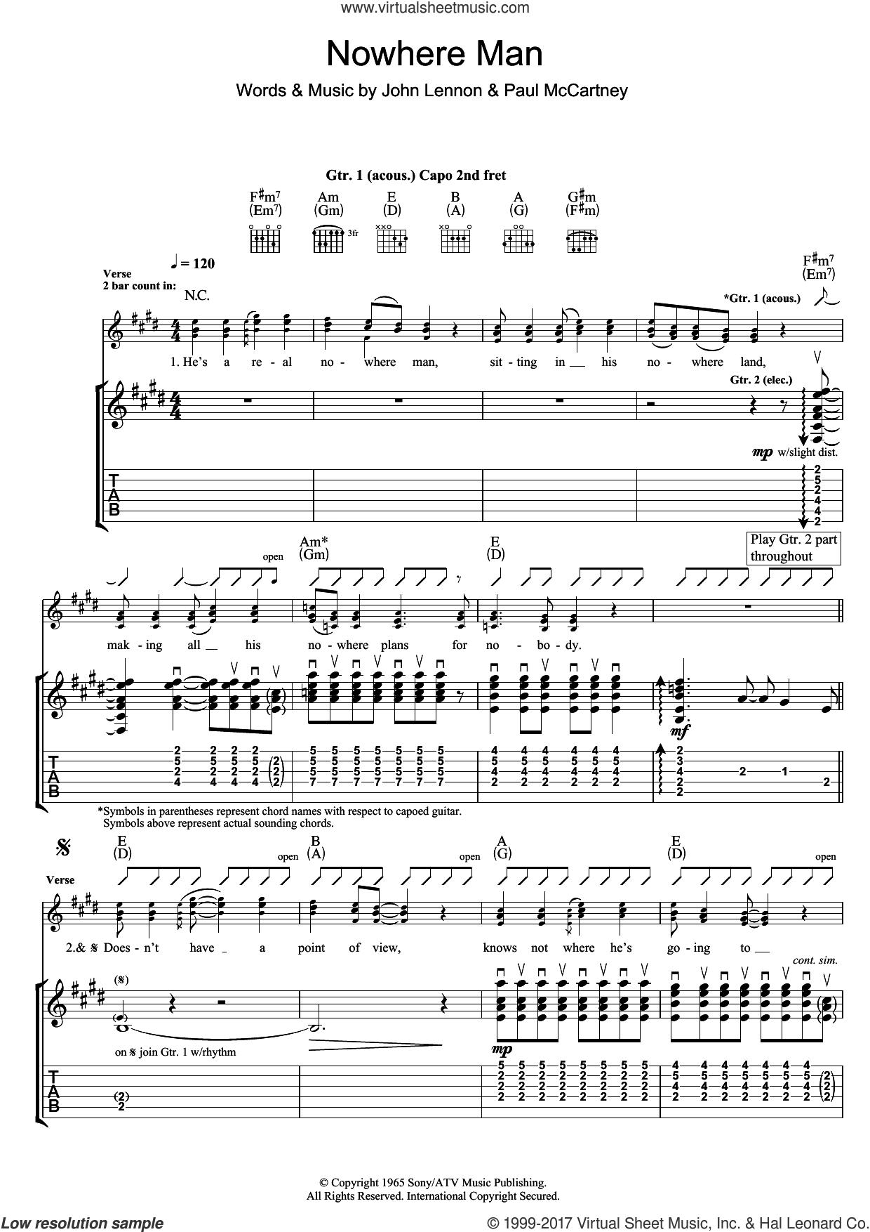 Beatles Nowhere Man Sheet Music For Guitar Tablature Pdf
