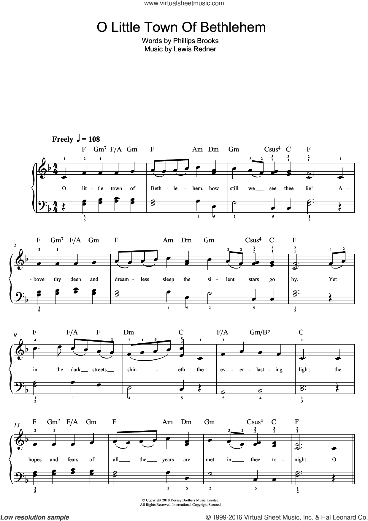 O Little Town Of Bethlehem sheet music for piano solo (beginners) by Lewis Redner, Miscellaneous and Phillips Brooks, beginner piano (beginners)