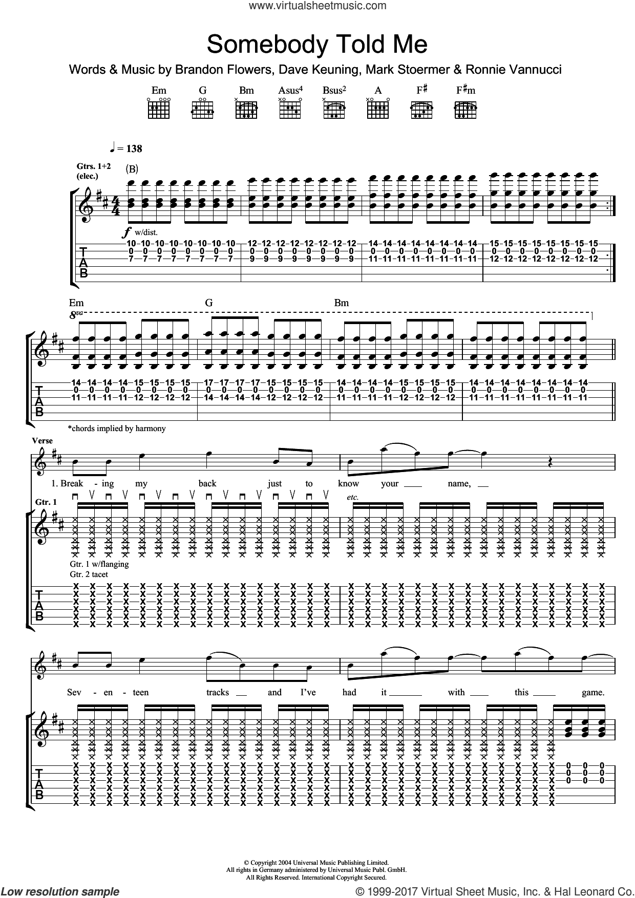 Somebody Told Me sheet music for guitar (tablature) by The Killers and Brandon Flowers, intermediate. Score Image Preview.