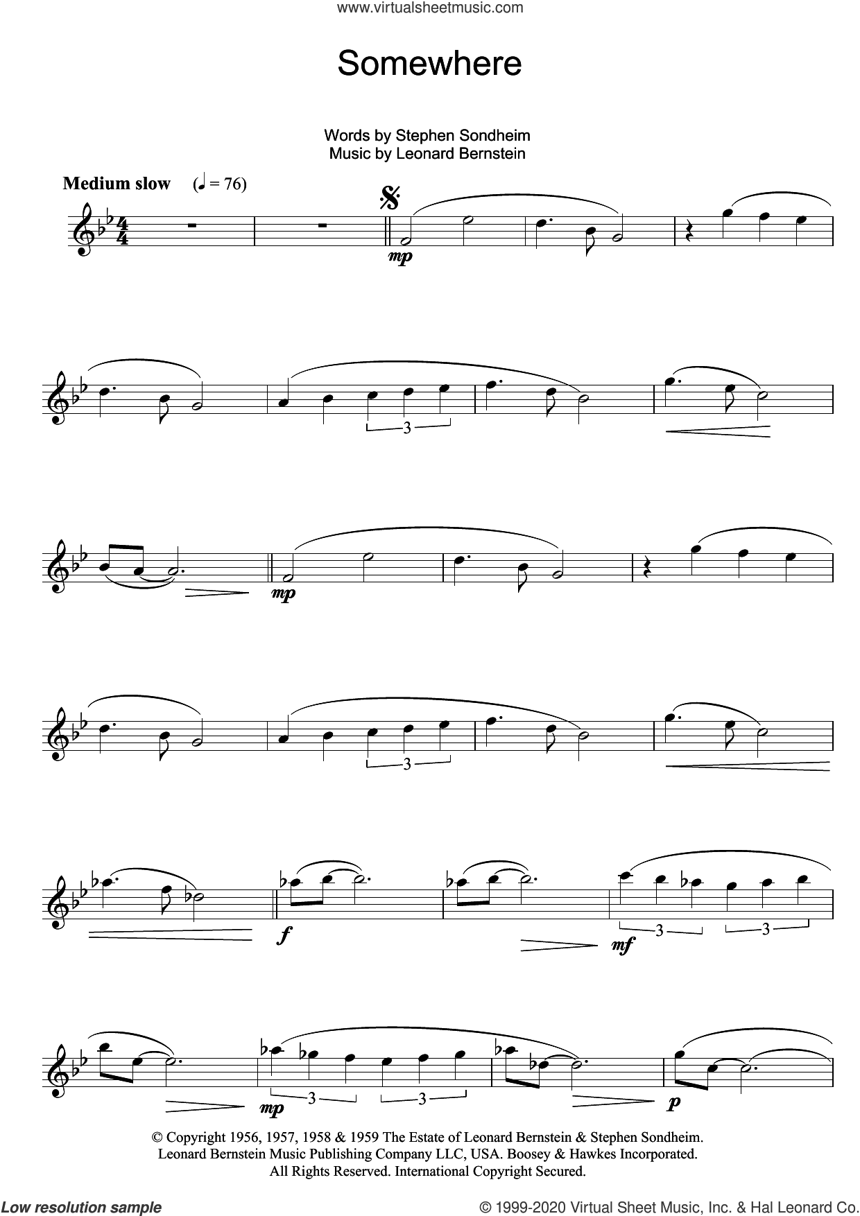 Somewhere (from West Side Story) sheet music for alto saxophone solo by Leonard Bernstein, Pet Shop Boys and Stephen Sondheim, intermediate skill level