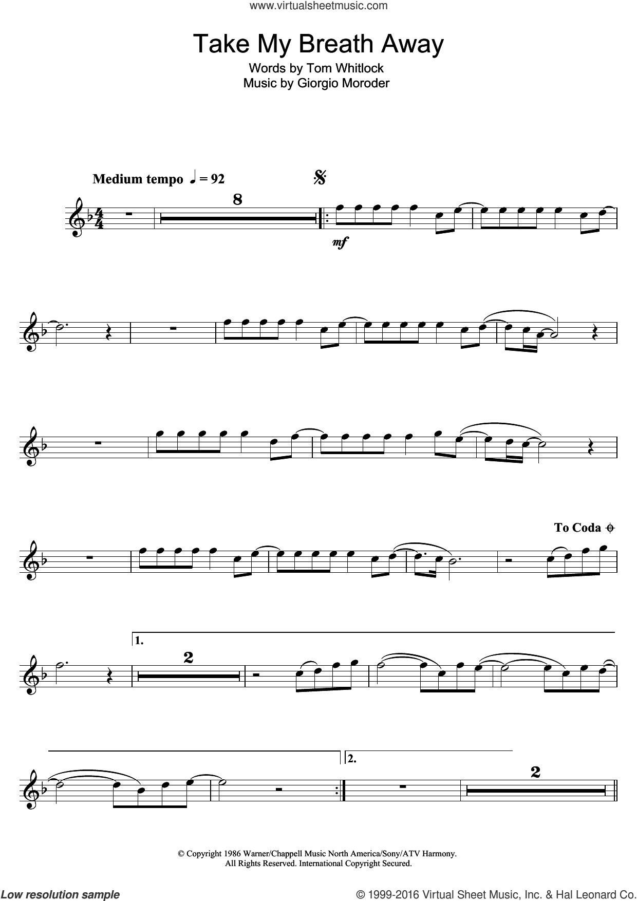 Take My Breath Away sheet music for alto saxophone solo by Berlin, Giorgio Moroder and Tom Whitlock, intermediate. Score Image Preview.
