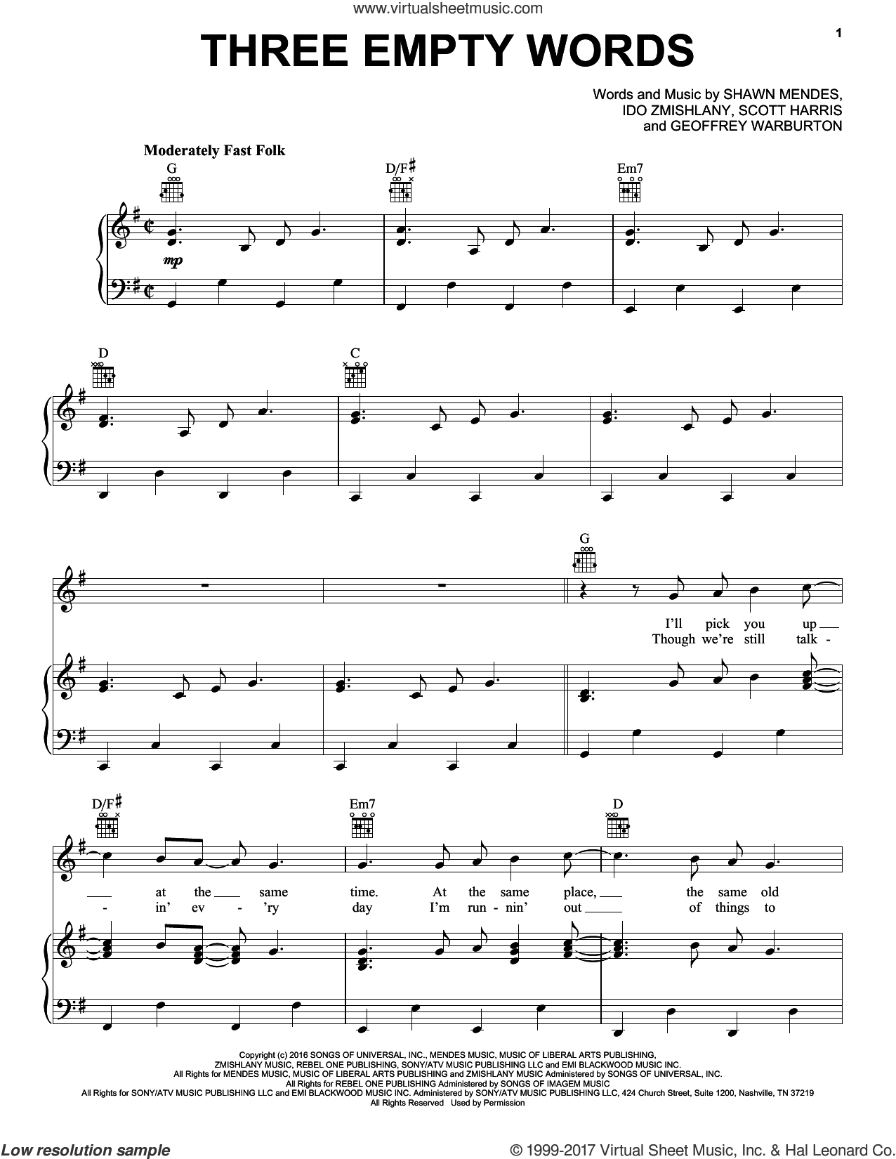 Three Empty Words sheet music for voice, piano or guitar by Shawn Mendes, Geoffrey Warburton, Ido Zmishlany and Scott Harris, intermediate skill level