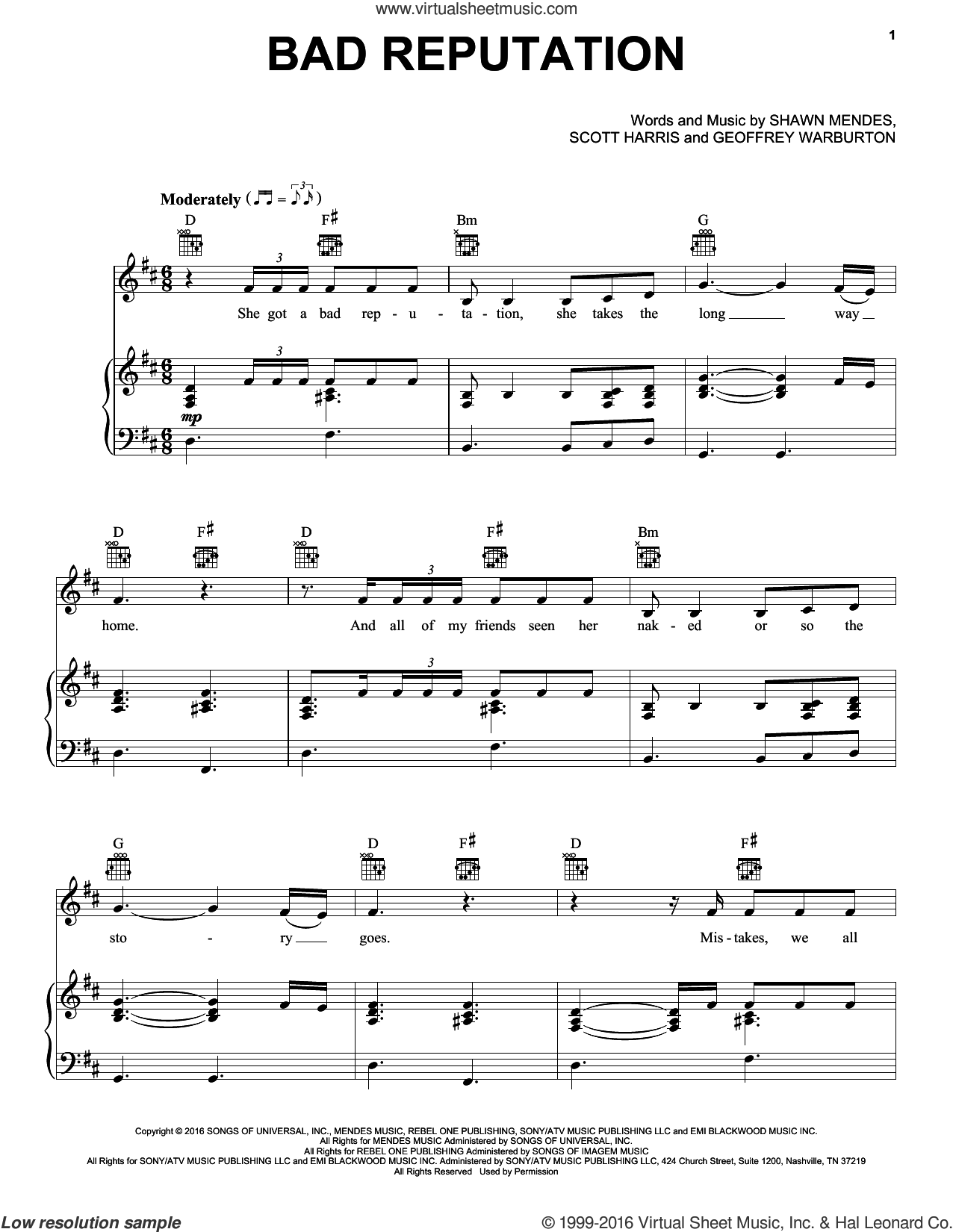 Bad Reputation sheet music for voice, piano or guitar by Shawn Mendes. Score Image Preview.