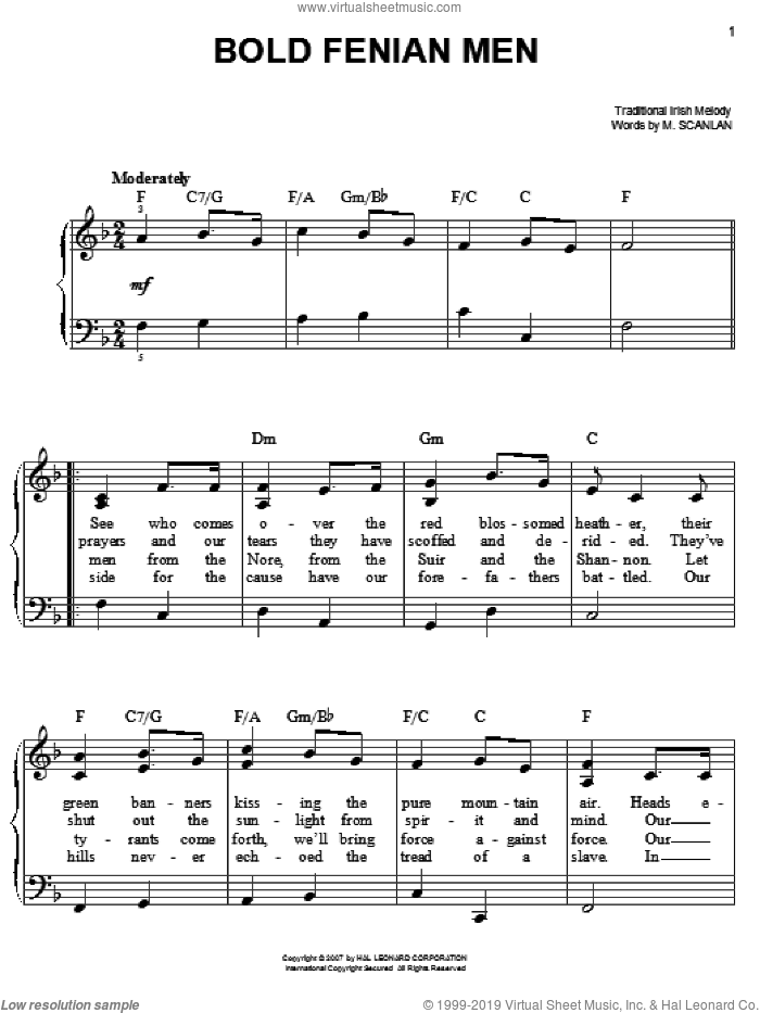 Bold Fenian Men sheet music for piano solo by M. Scanlan, easy. Score Image Preview.