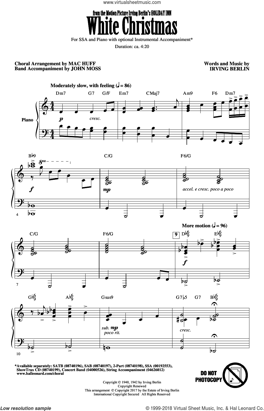 White Christmas (arr. Mac Huff) sheet music for choir (SSA: soprano, alto) by Irving Berlin and Mac Huff, intermediate skill level