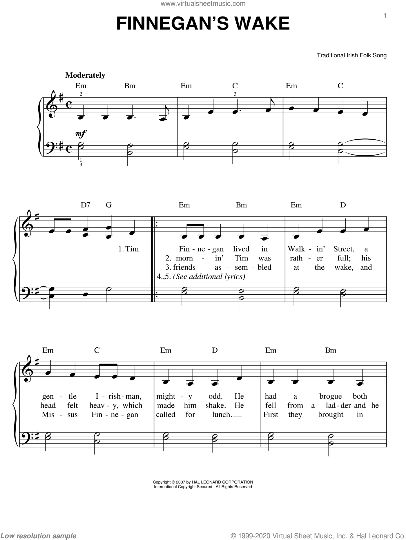 Finnegan's Wake sheet music for piano solo, easy skill level