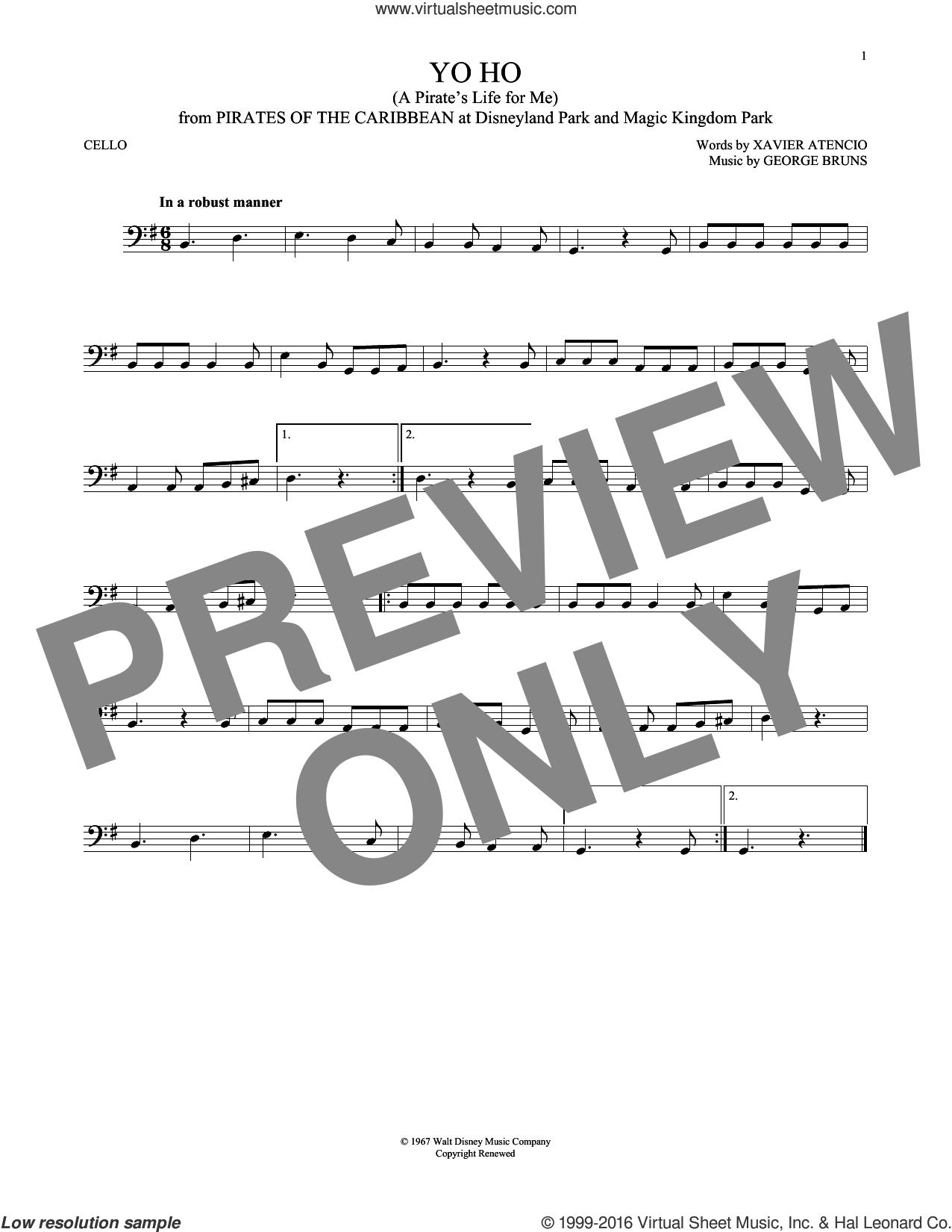 Yo Ho (A Pirate's Life For Me) sheet music for cello solo by George Bruns and Xavier Atencio, intermediate skill level