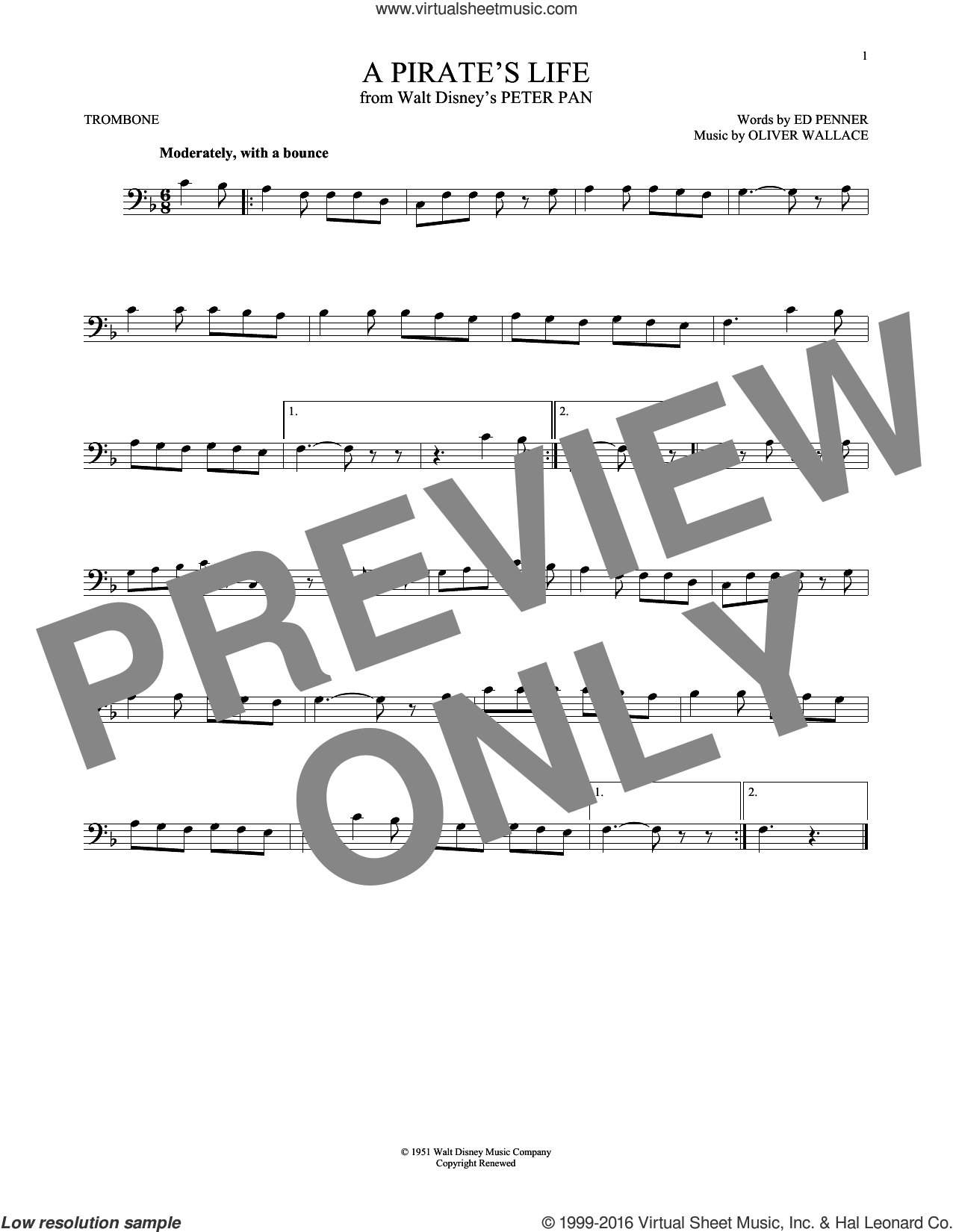 A Pirate's Life sheet music for trombone solo by Oliver Wallace and Ed Penner, intermediate