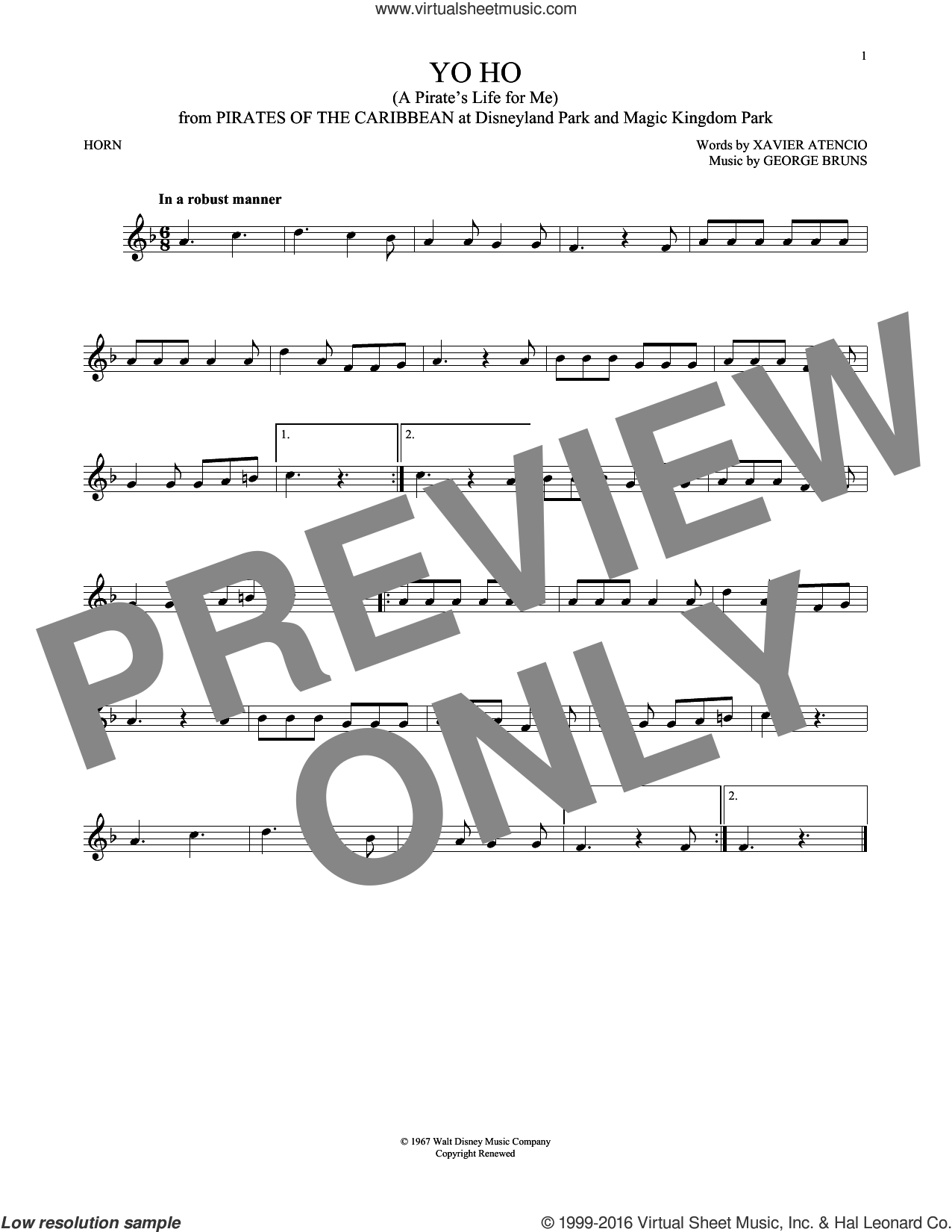 Yo Ho (A Pirate's Life For Me) sheet music for horn solo by George Bruns and Xavier Atencio, intermediate skill level