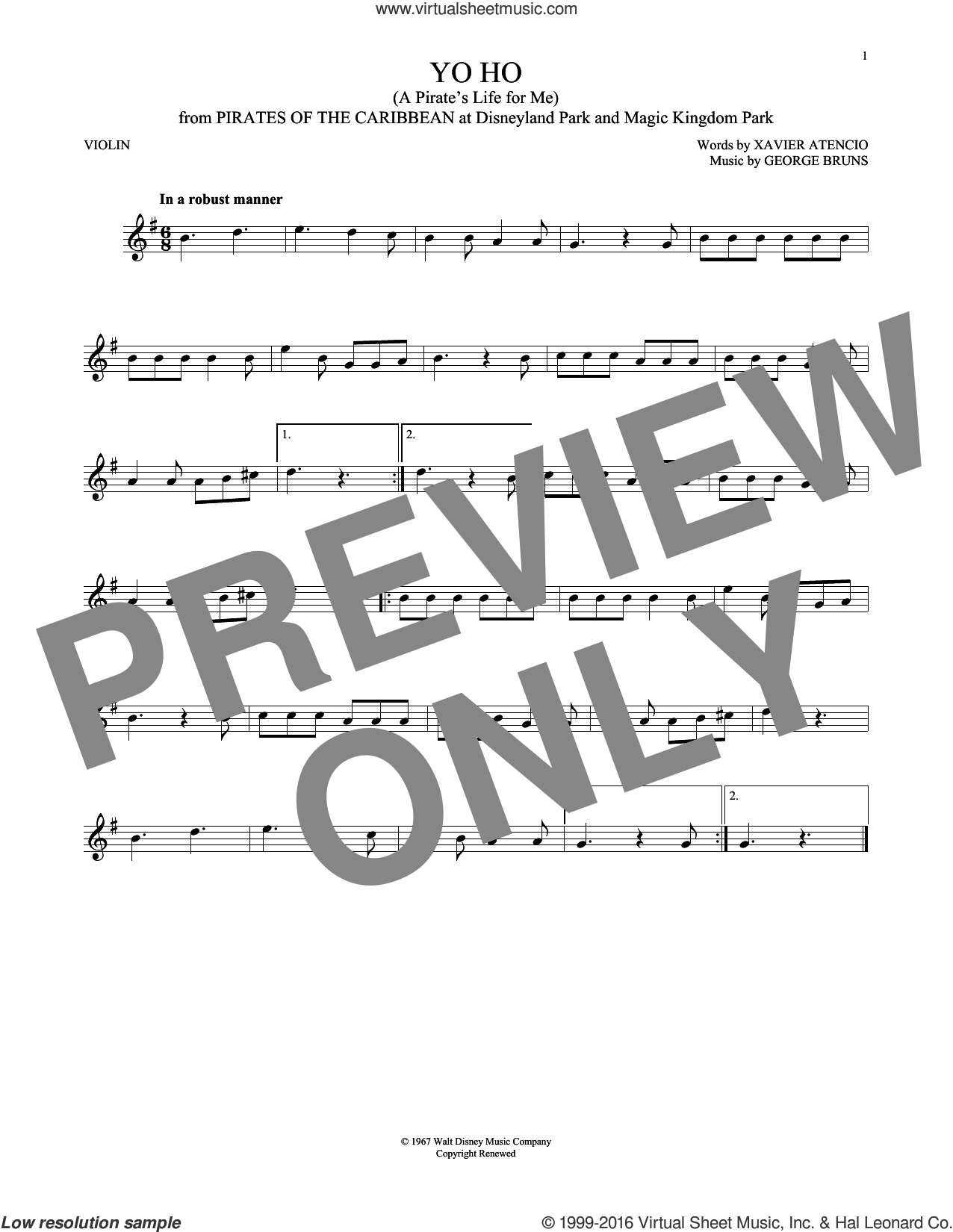 Yo Ho (A Pirate's Life For Me) sheet music for violin solo by George Bruns and Xavier Atencio, intermediate skill level