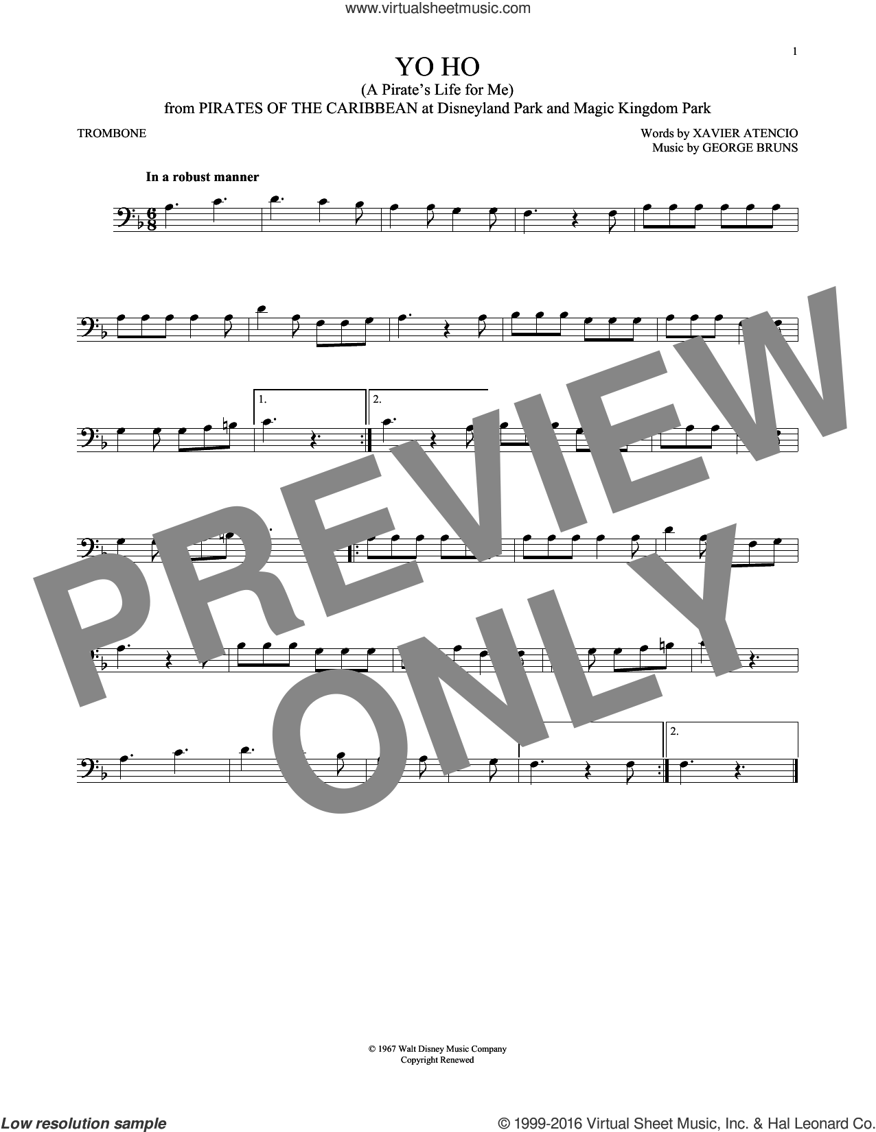 Yo Ho (A Pirate's Life For Me) sheet music for trombone solo by George Bruns and Xavier Atencio, intermediate skill level