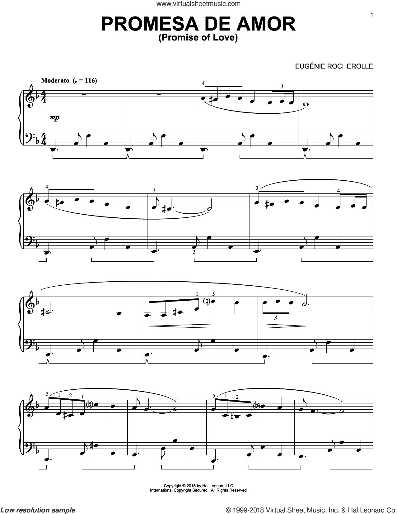 Promesa De Amor sheet music for piano solo by Eugenie Rocherolle, intermediate skill level