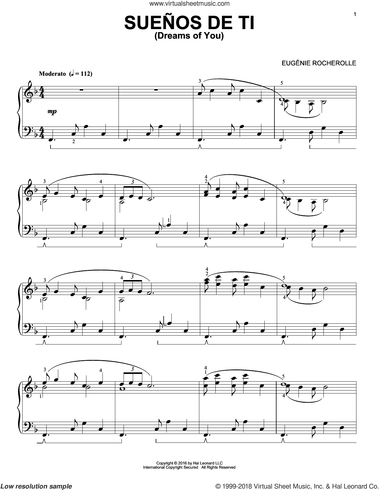 Suenos de Ti sheet music for piano solo by Eugenie Rocherolle, intermediate