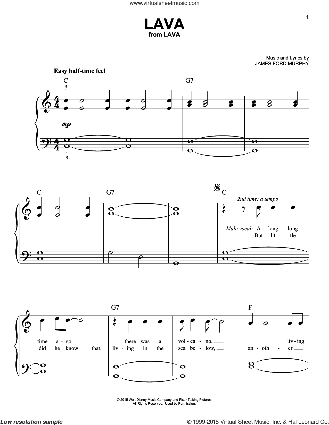 Lava sheet music for piano solo by James Ford Murphy, easy skill level