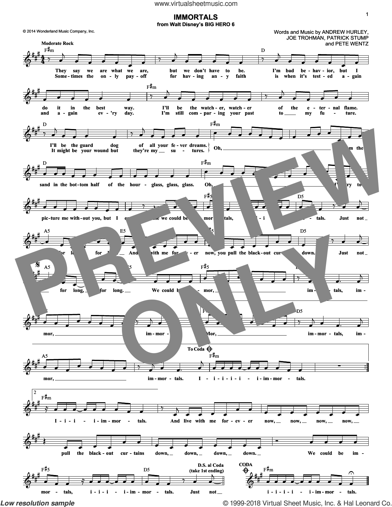 Immortals sheet music for voice and other instruments (fake book) by Fall Out Boy, Andrew Hurley, Joe Trohman, Patrick Stump and Pete Wentz, intermediate skill level