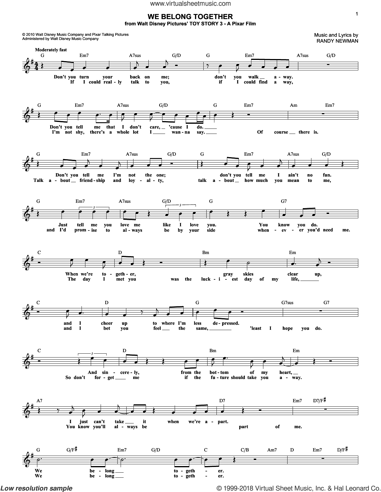 We Belong Together (from Toy Story 3) sheet music for voice and other instruments (fake book) by Randy Newman, intermediate skill level