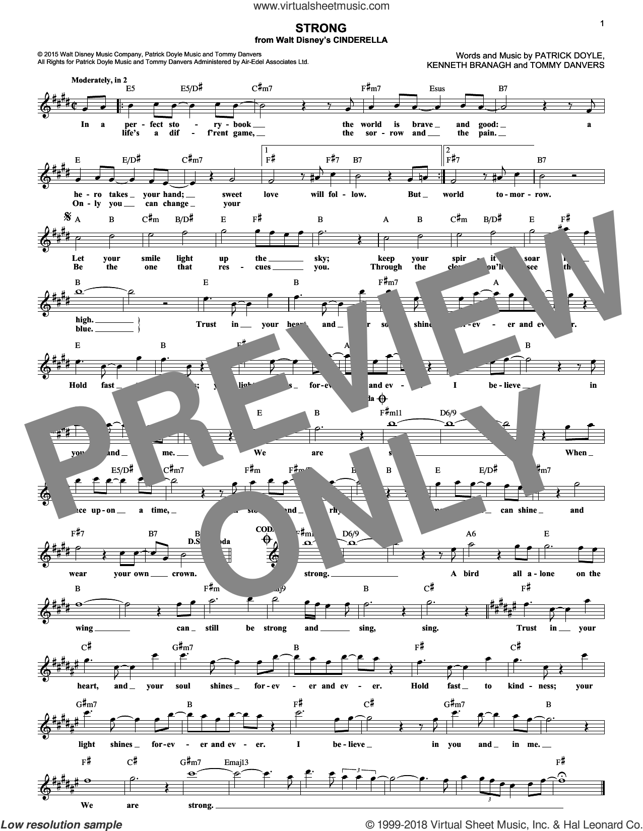 Strong sheet music for voice and other instruments (fake book) by Tommy Danvers, Sonna Rele and Patrick Doyle. Score Image Preview.