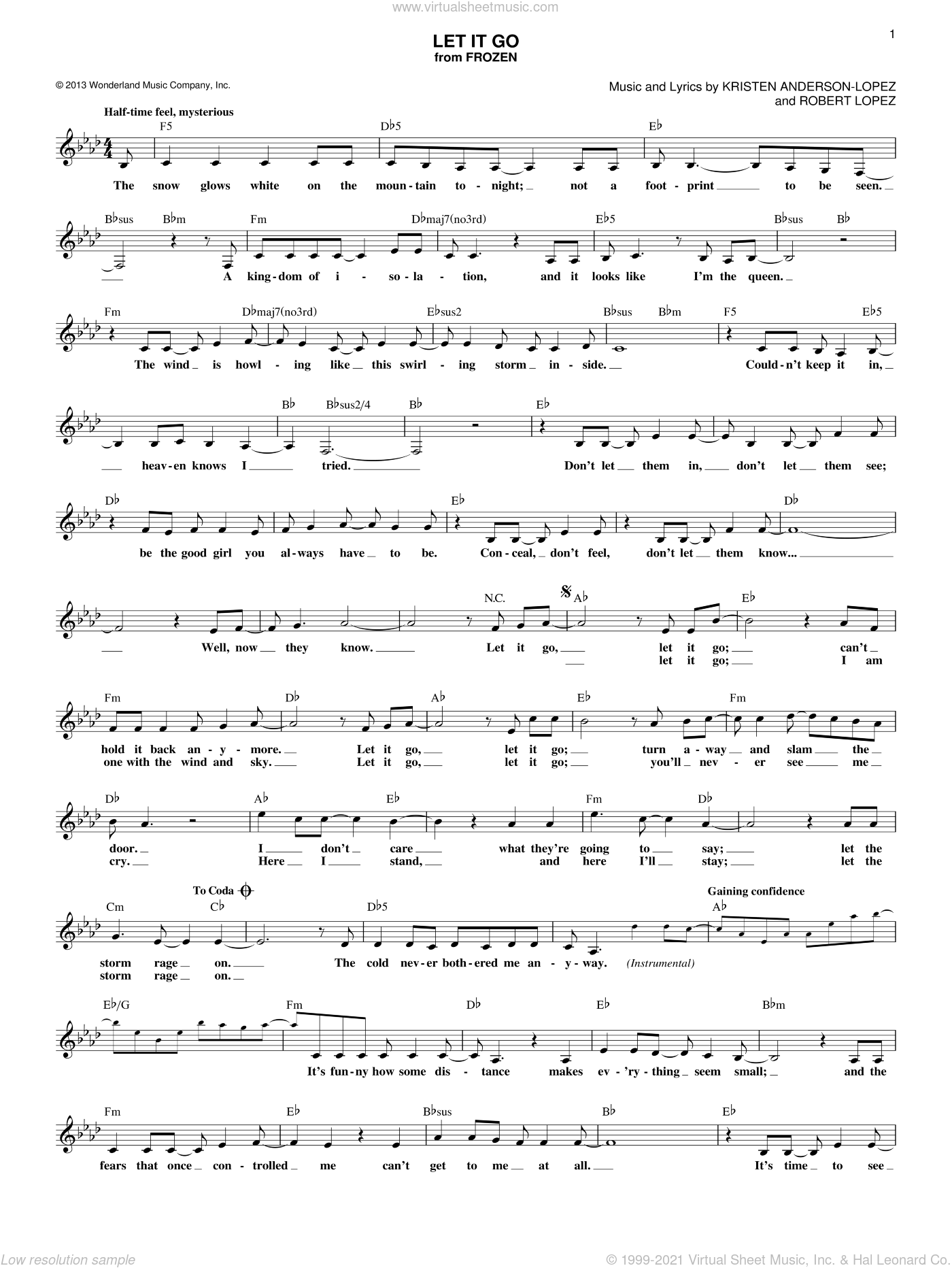 Let It Go sheet music for voice and other instruments (fake book) by Idina Menzel, Kristen Anderson-Lopez and Robert Lopez, intermediate. Score Image Preview.