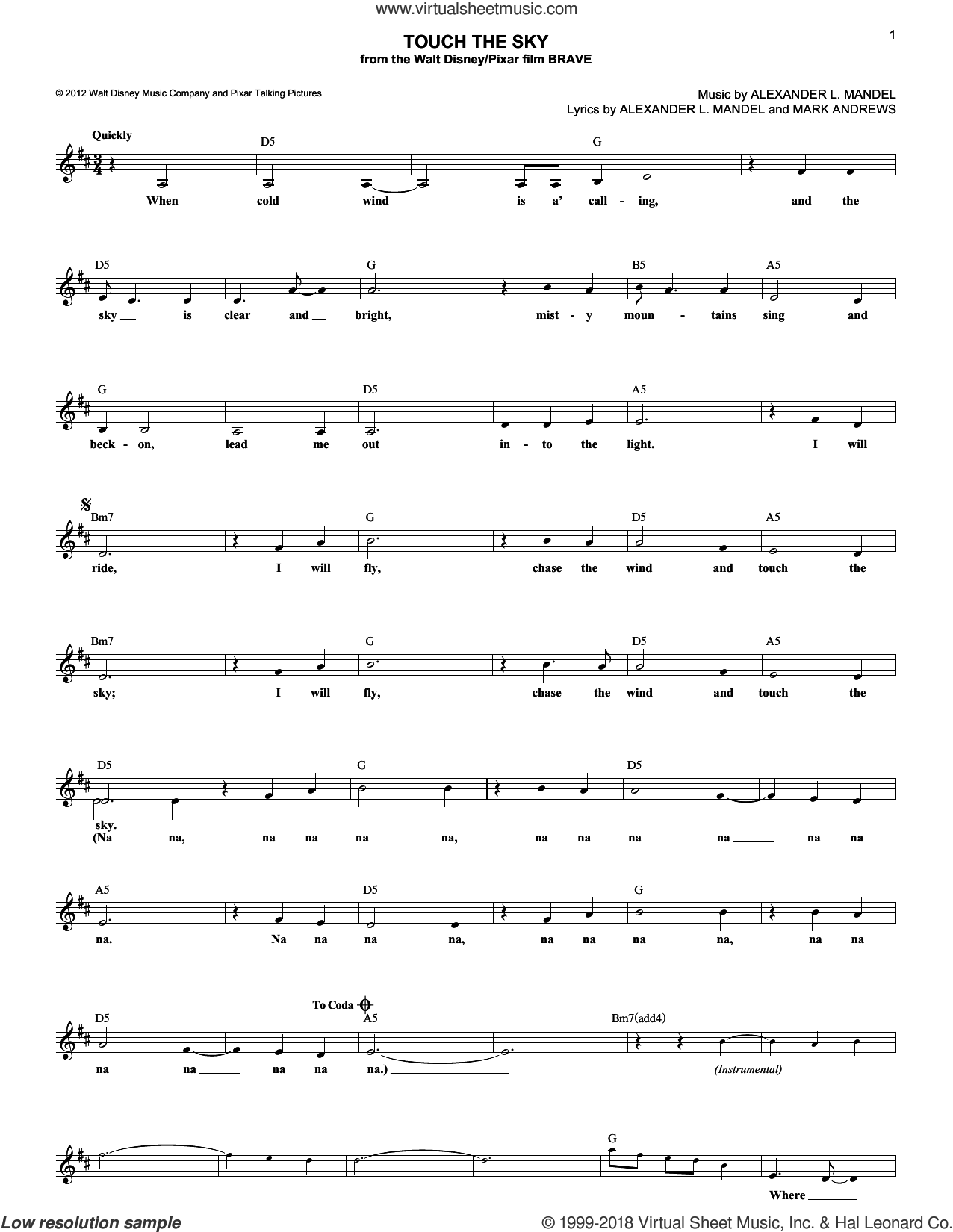 Touch The Sky sheet music for voice and other instruments (fake book) by Julie Fowlis, Alexander L. Mandel and Mark Andrews. Score Image Preview.