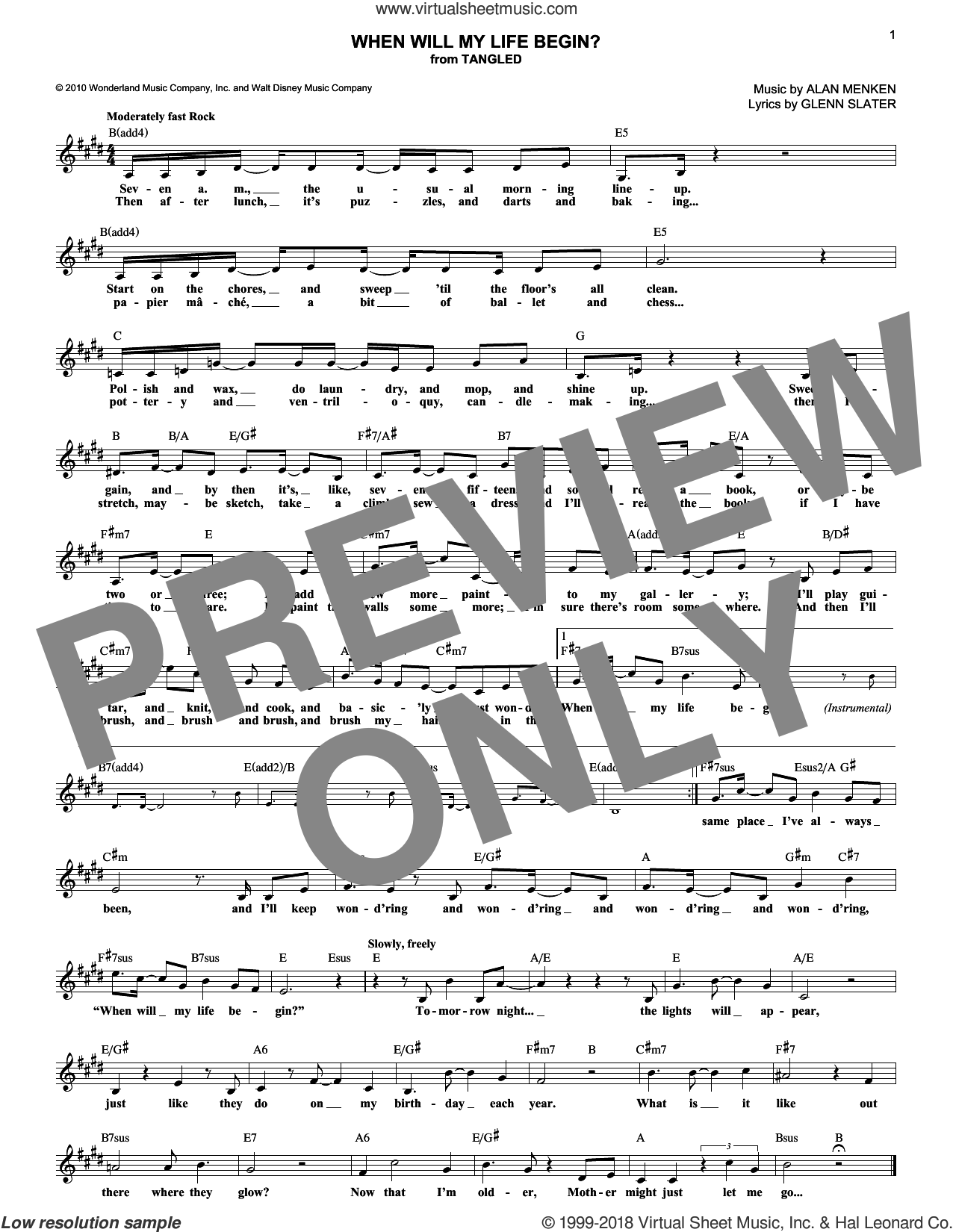 When Will My Life Begin? sheet music for voice and other instruments (fake book) by Glenn Slater and Alan Menken, intermediate