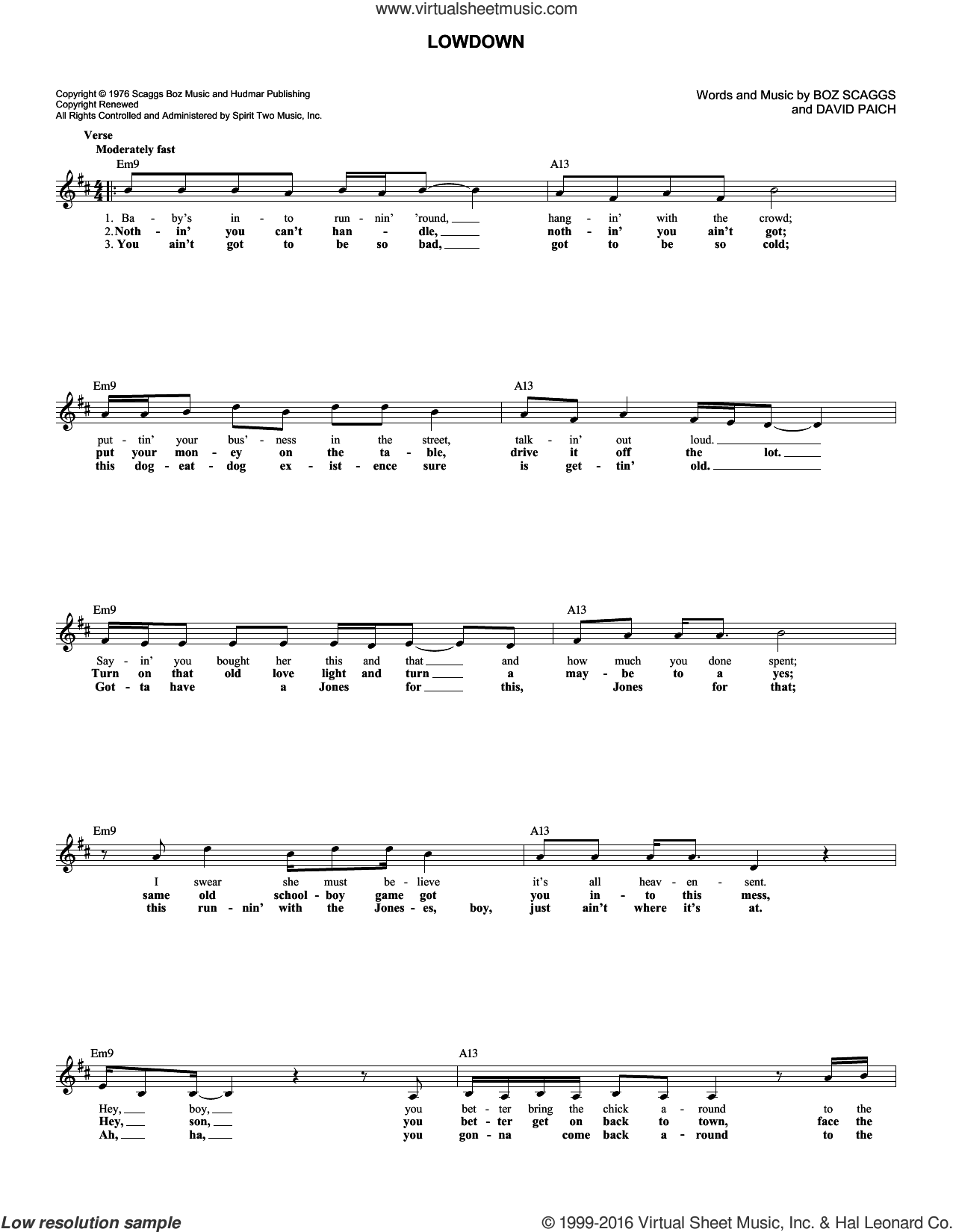Lowdown sheet music for voice and other instruments (fake book) by Boz Scaggs and David Paich, intermediate skill level