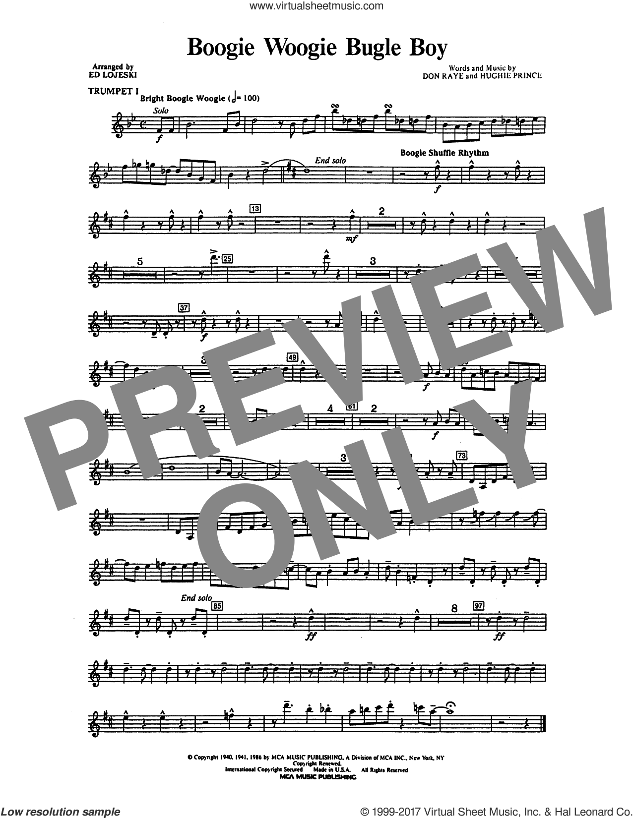 Boogie Woogie Bugle Boy (complete set of parts) sheet music for orchestra/band (Instrumental Accompaniment) by Ed Lojeski, Andrews Sisters, Bette Midler, Don Raye and Hughie Prince, intermediate skill level