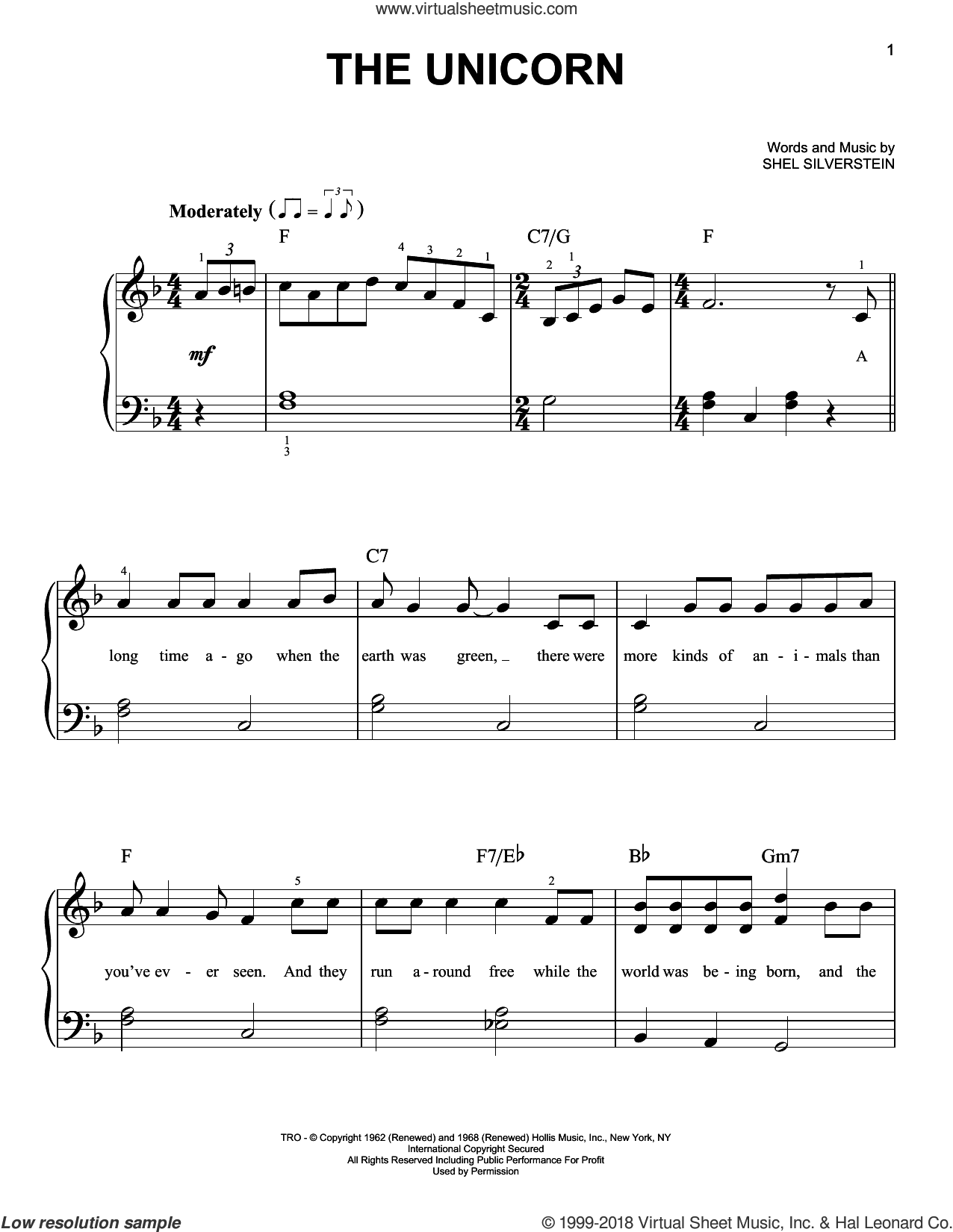 The Unicorn sheet music for piano solo by Irish Rovers and Shel Silverstein, beginner skill level