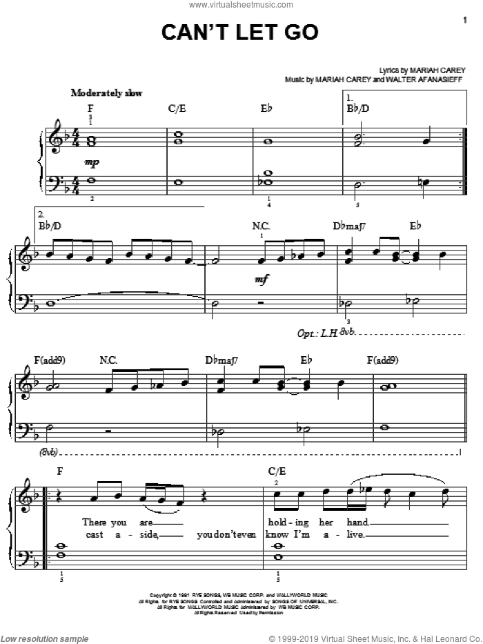 Can't Let Go sheet music for piano solo by Mariah Carey and Walter Afanasieff, easy skill level
