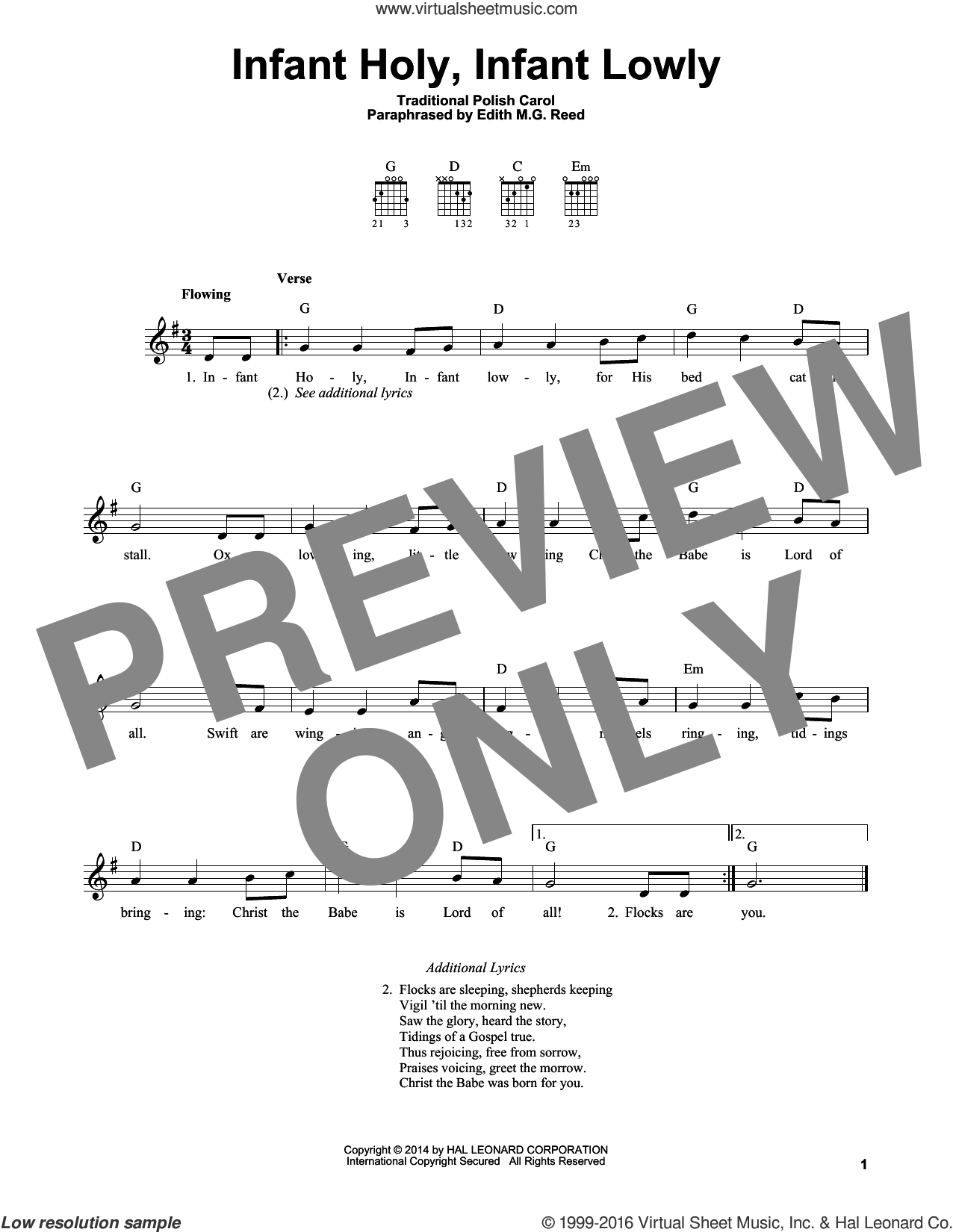 Infant Holy, Infant Lowly sheet music for guitar solo (chords) by Edith M.G. Reed and Miscellaneous, easy guitar (chords)